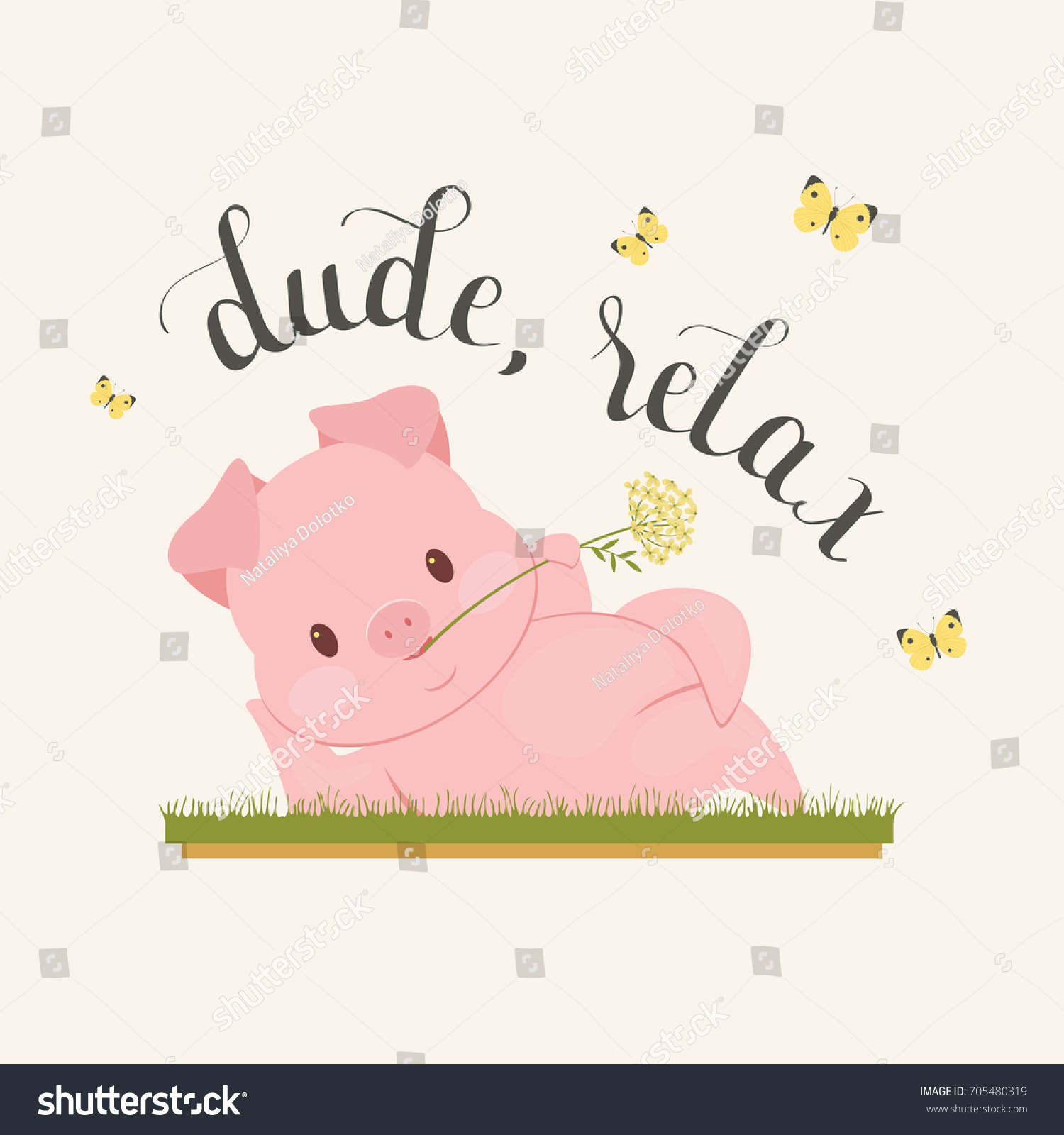 "Handwritten lettering ""dude, relax"" and funny pig character laying on the grass with flower in mouth. Poster, greeting card, wall art or wallpaper template."