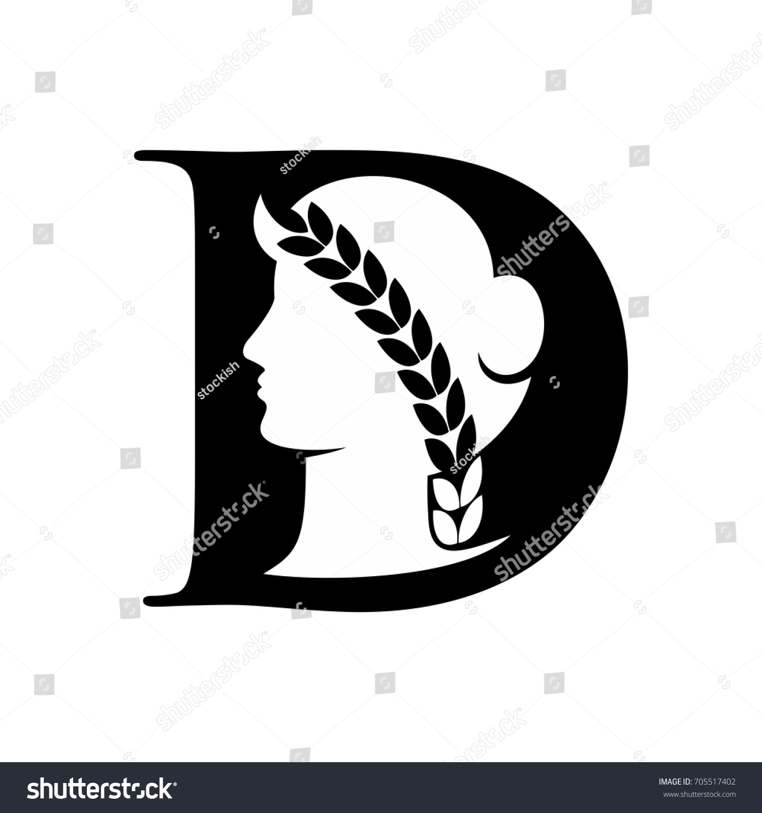 Demeter vector logo silhouette vector letter stock vector 705517402 demeter vector logo silhouette vector letter d vector logo buycottarizona Image collections