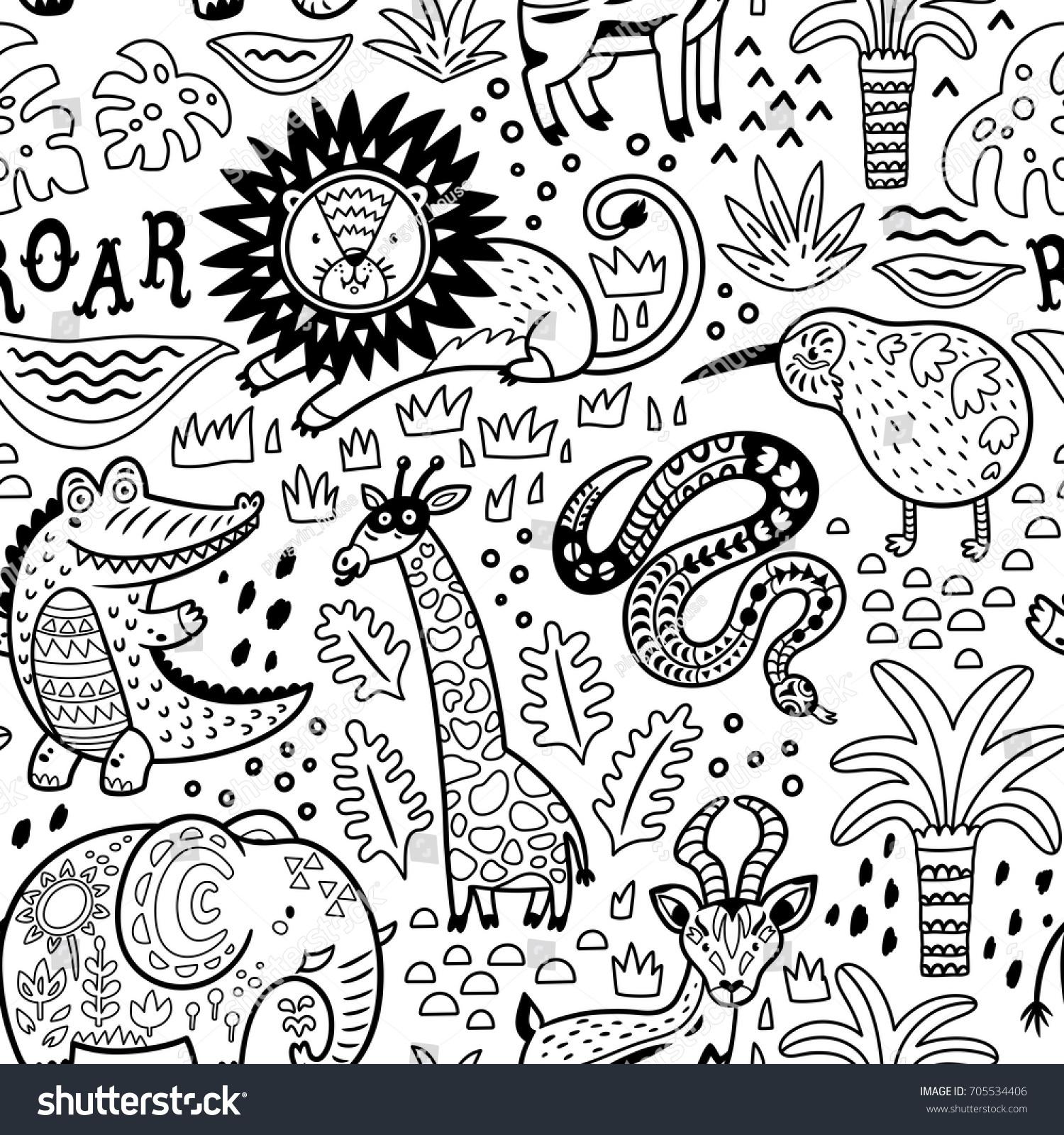 seamless safari pattern ink style jungle stock vector 705534406