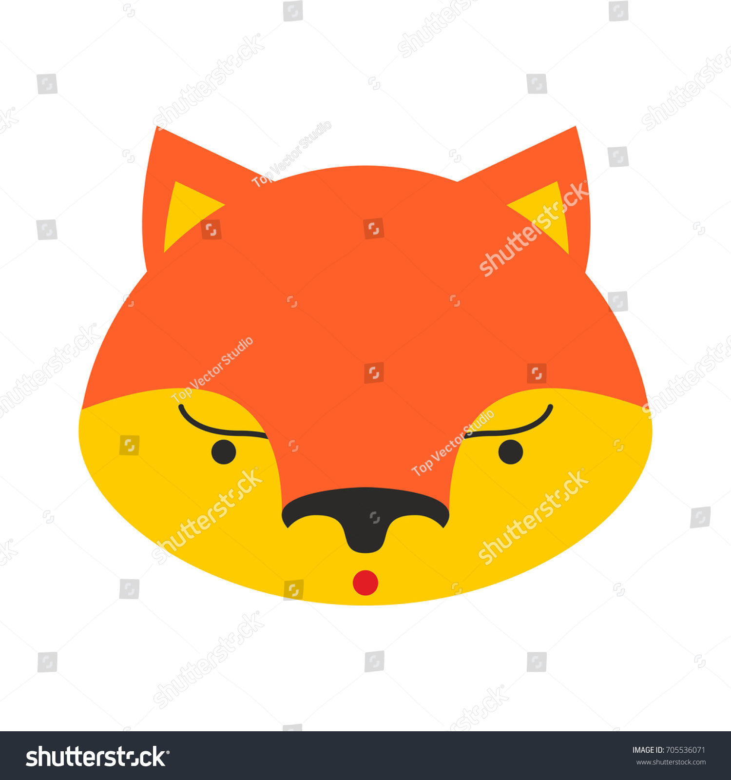 fox face cute shefox head element stock illustration 705536071