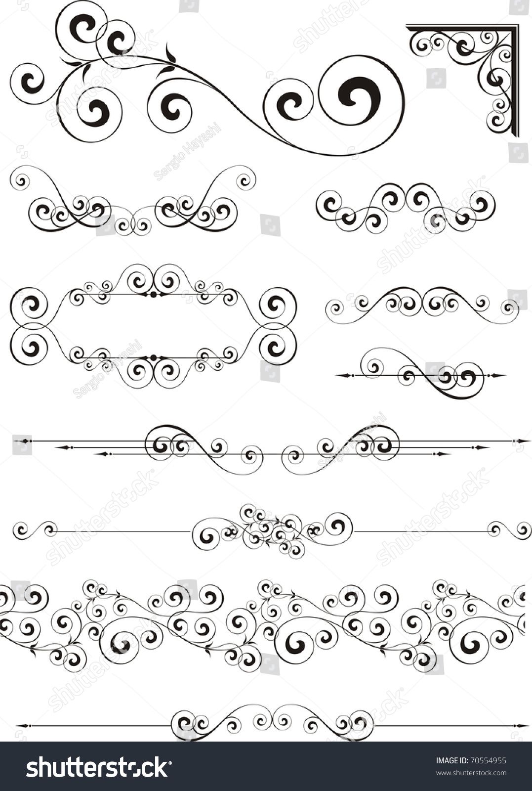 Set of calligraphy ornaments in vector format very easy to