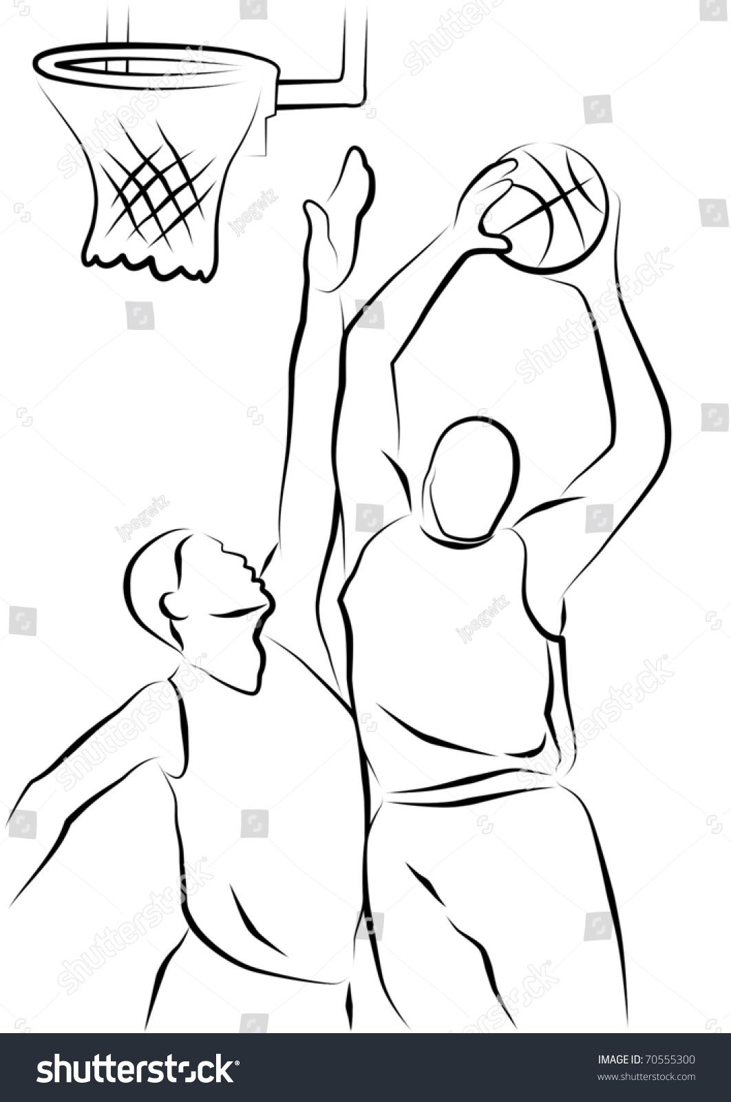 Line Drawing Basketball : Line drawing two basketball players stock illustration