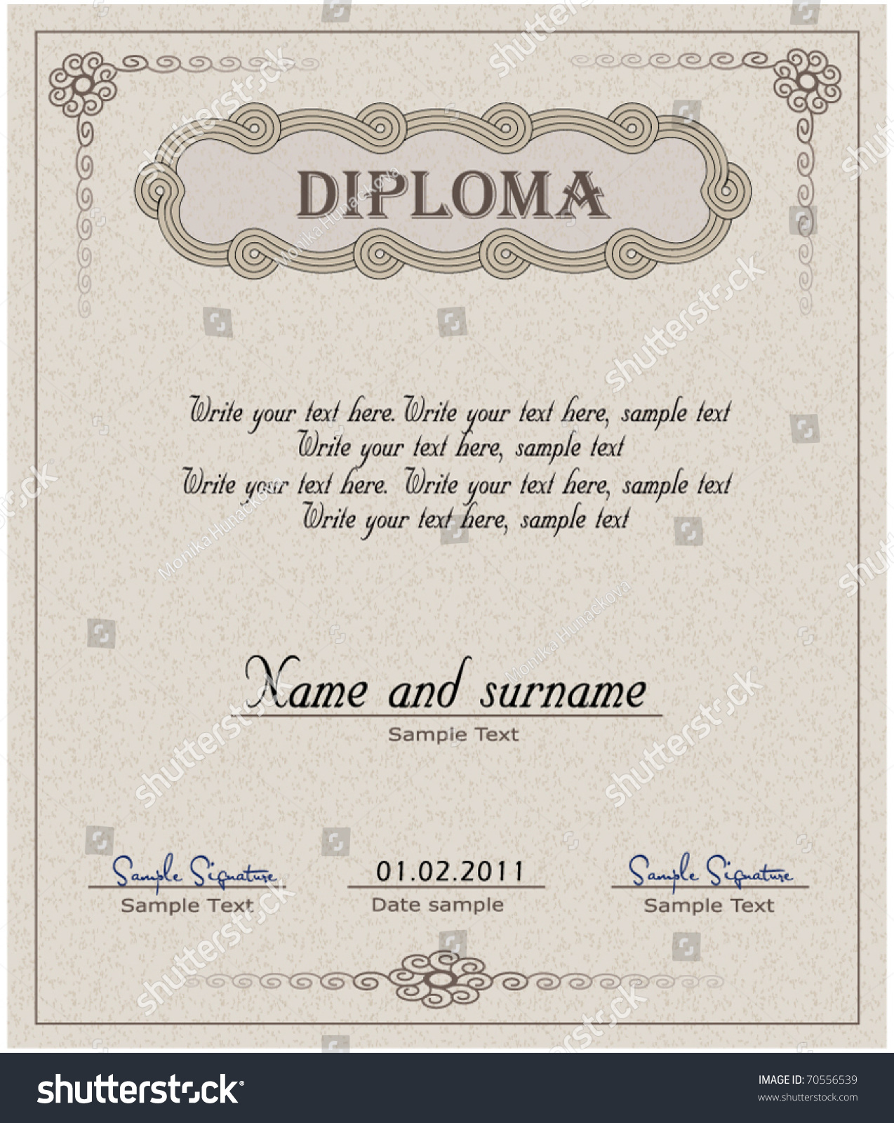 Diploma Paper Vector Certificate Template Stock Vector Royalty Free