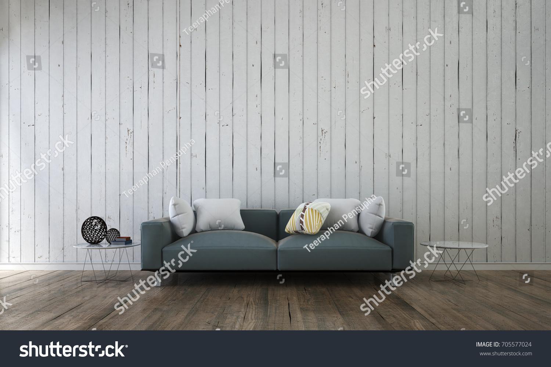 Minimal Living Room Interior Design White Stock Illustration ...
