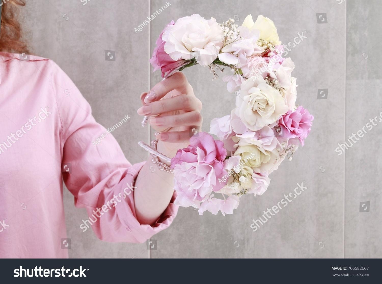 Florist work how make flower crown stock photo edit now 705582667 florist at work how to make flower crown with roses eustoma lisianthus izmirmasajfo