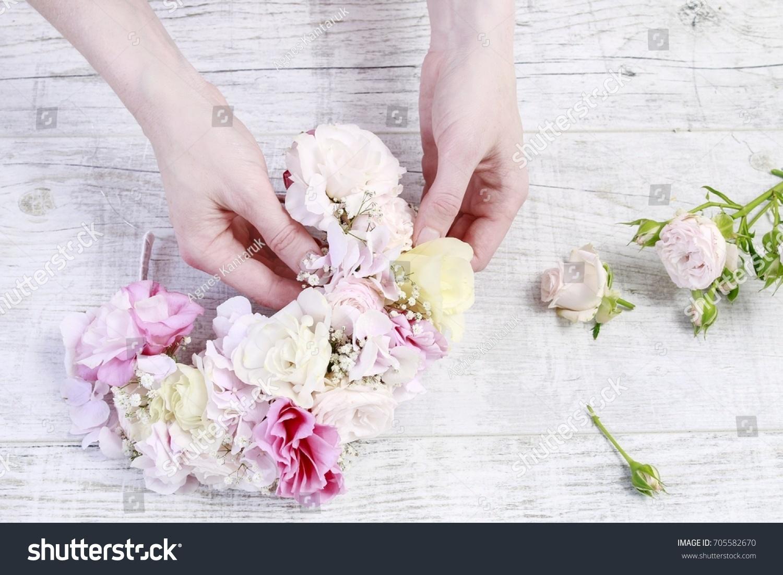 Florist Work How Make Flower Crown Stock Photo Edit Now 705582670