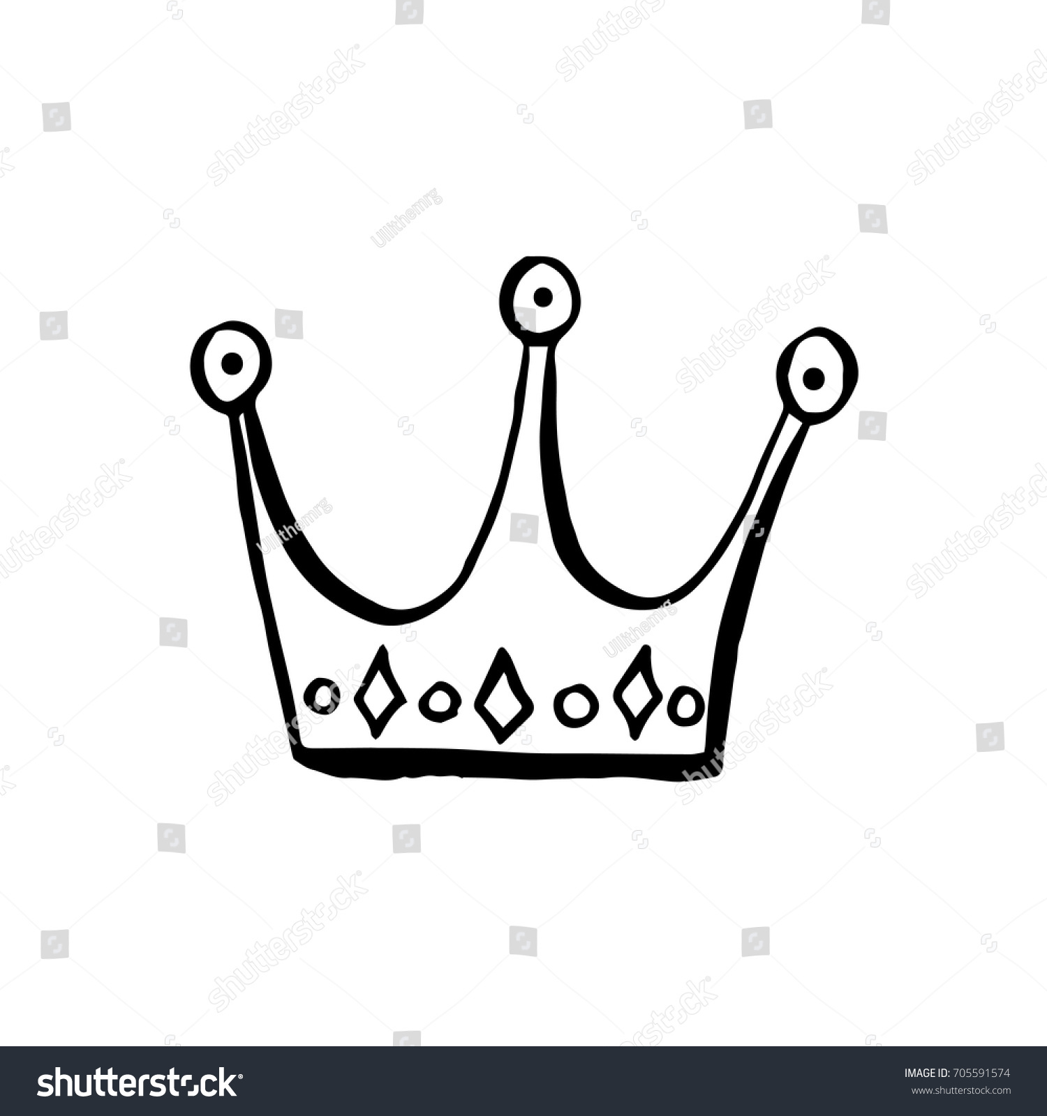 crown cute hand draw sketch cartoon style outline for production of the pattern