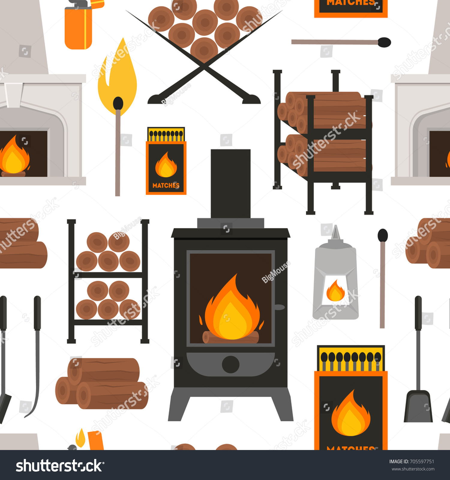 cartoon colorful fireplace background pattern on stock vector