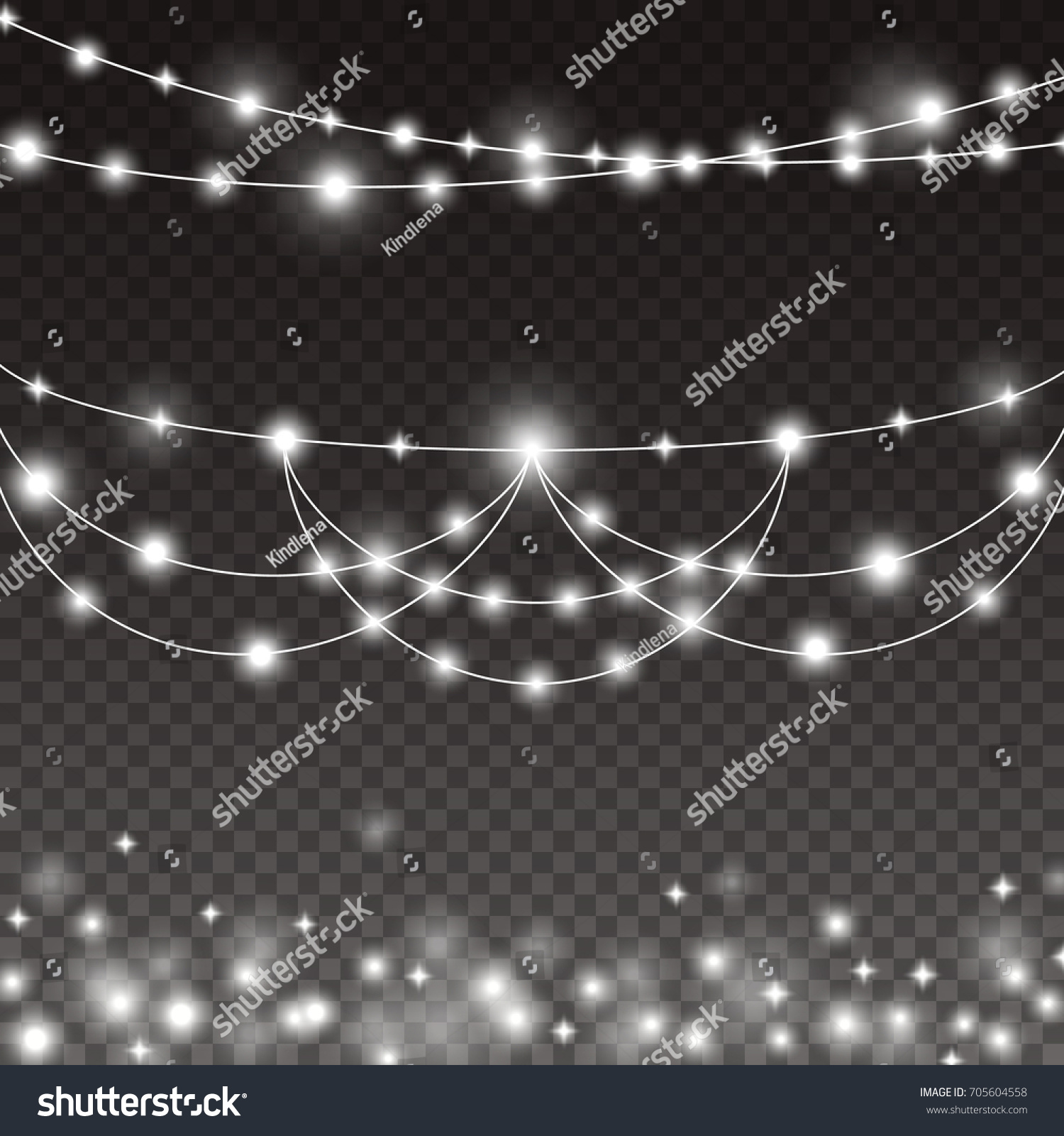 Lights String Bulbs Isolated On Transparent Background Glowing White Christmas Garlands Lamps For Xmas