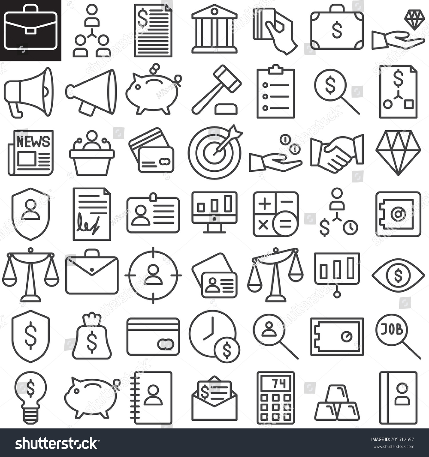 Business Finance Line Icons Set Outline Stock Vector