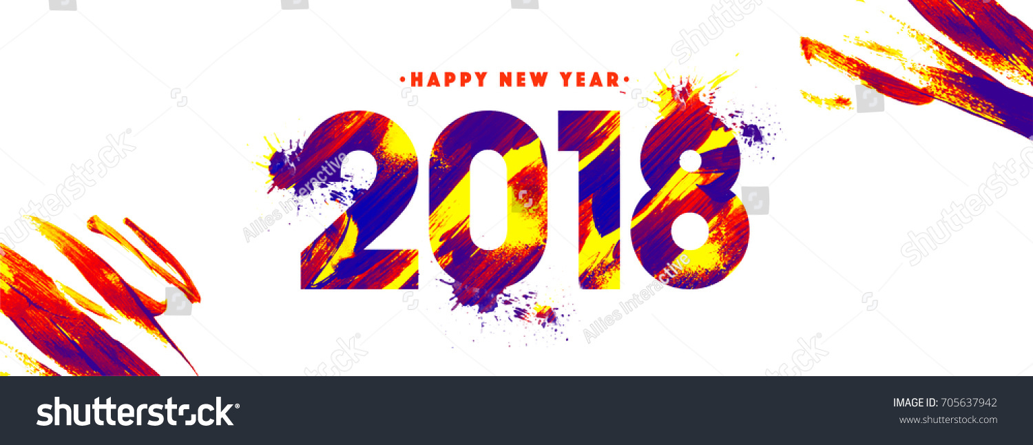 happy new year 2018 banner with colorful text