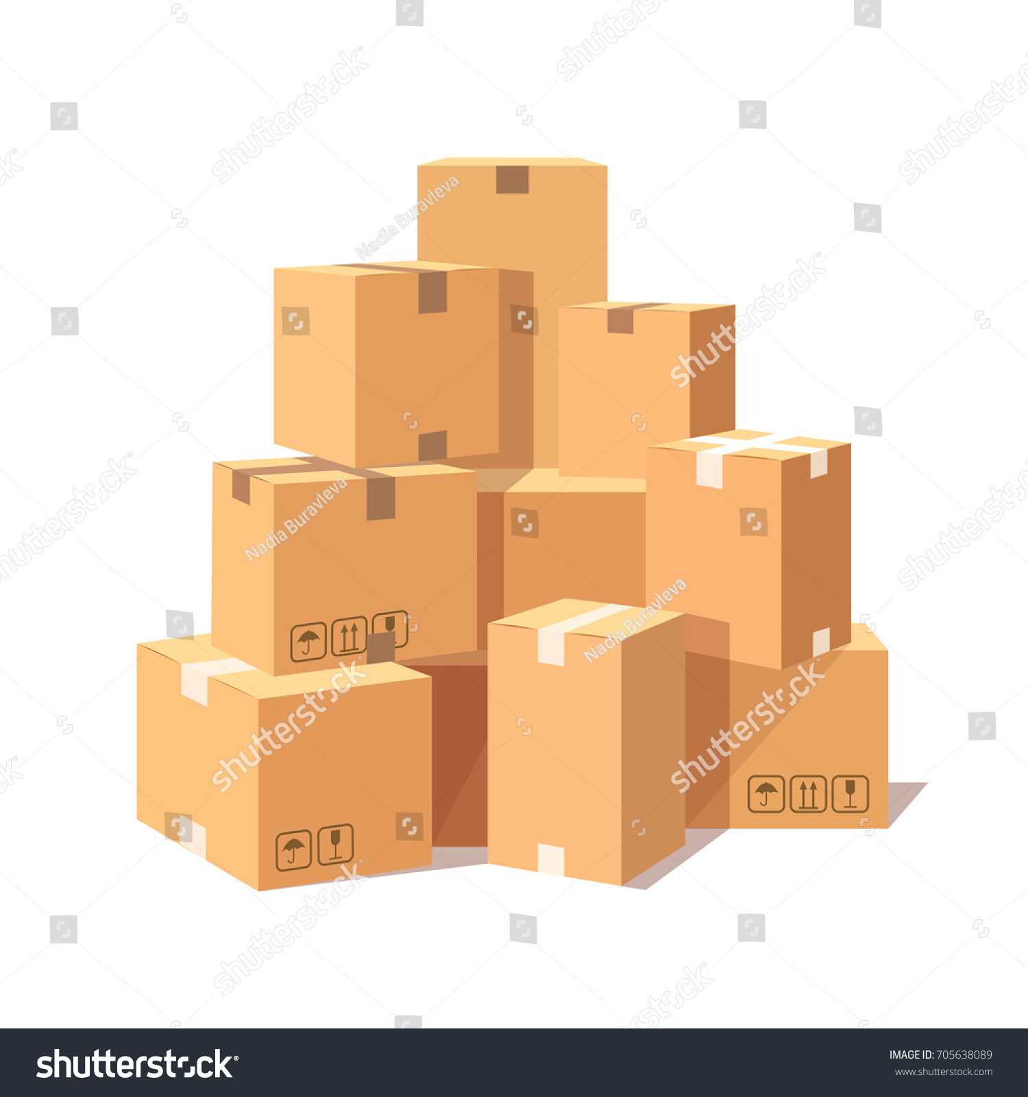 stacked cardboard boxes. pile of stacked cardboard boxes isolated on white background set goods parcel package