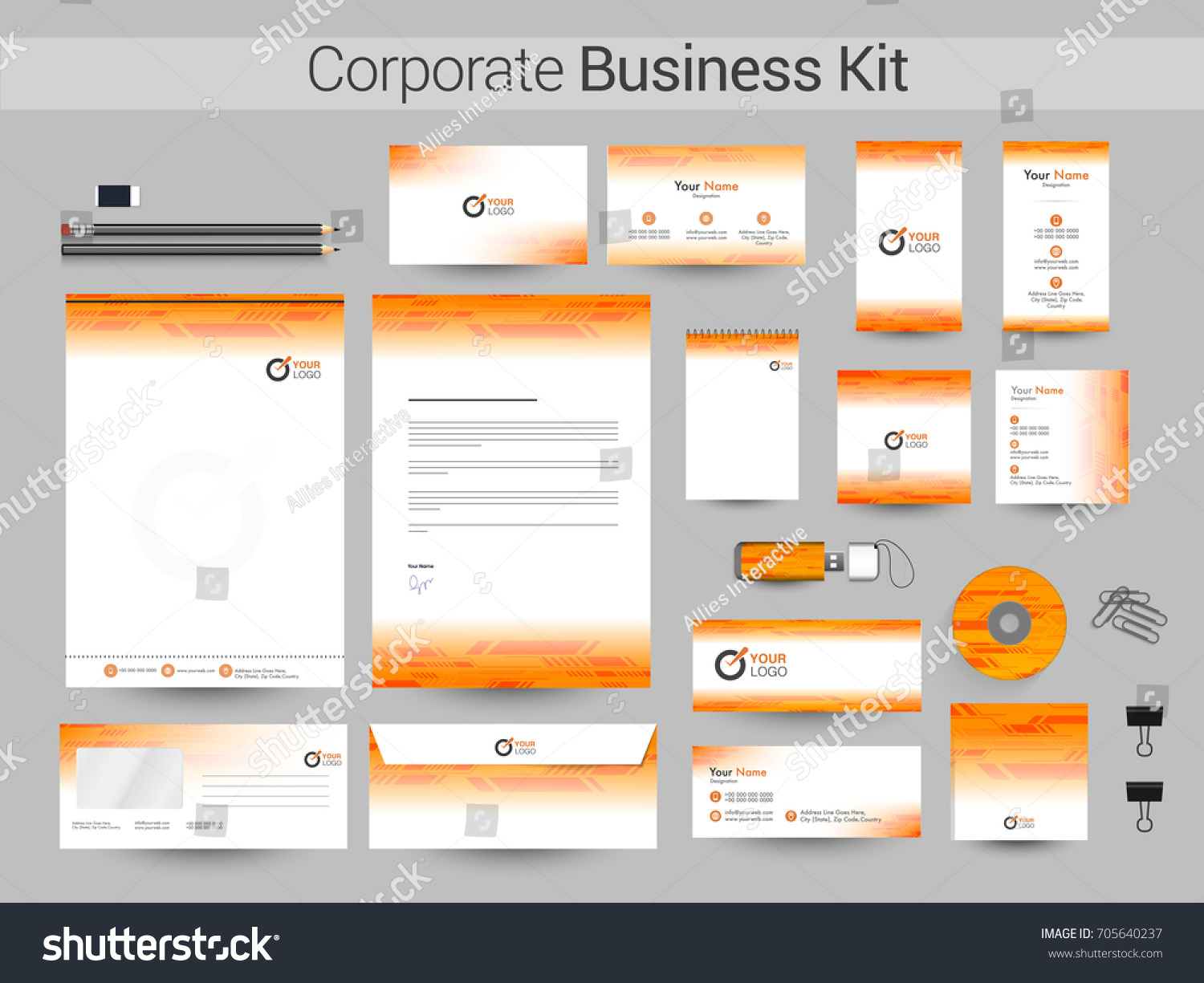 White Yellow Corporate Business Kit Including Stock Vector 705640237 ...