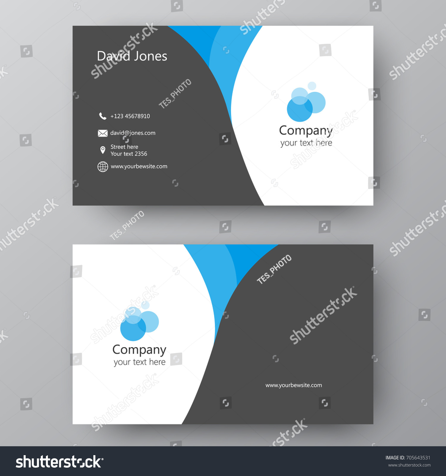 Vector Business Card Template Visiting Card Stock Vector 705643531 ...
