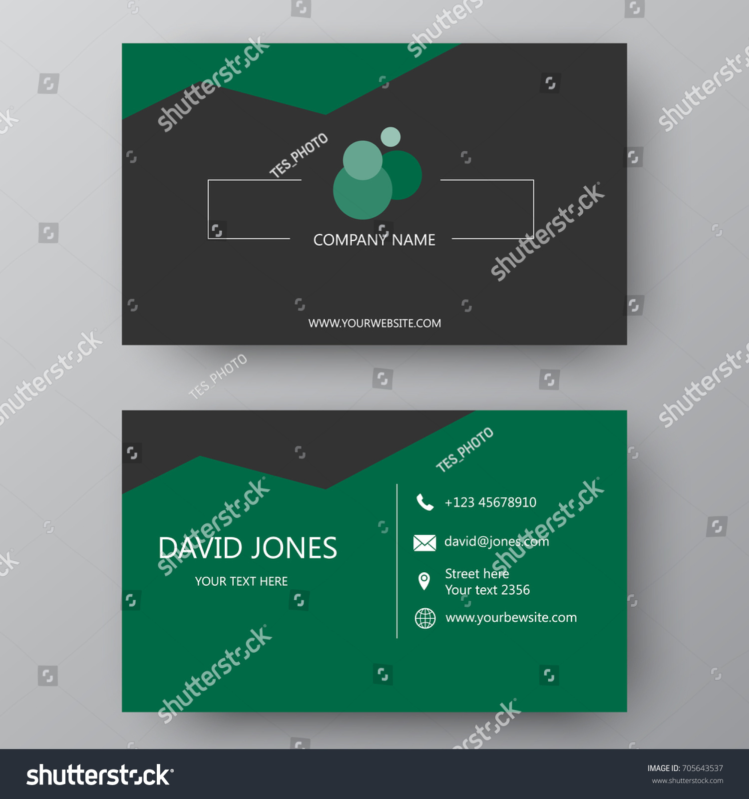 Vector Business Card Template Visiting Card Stock Vector 705643537 ...