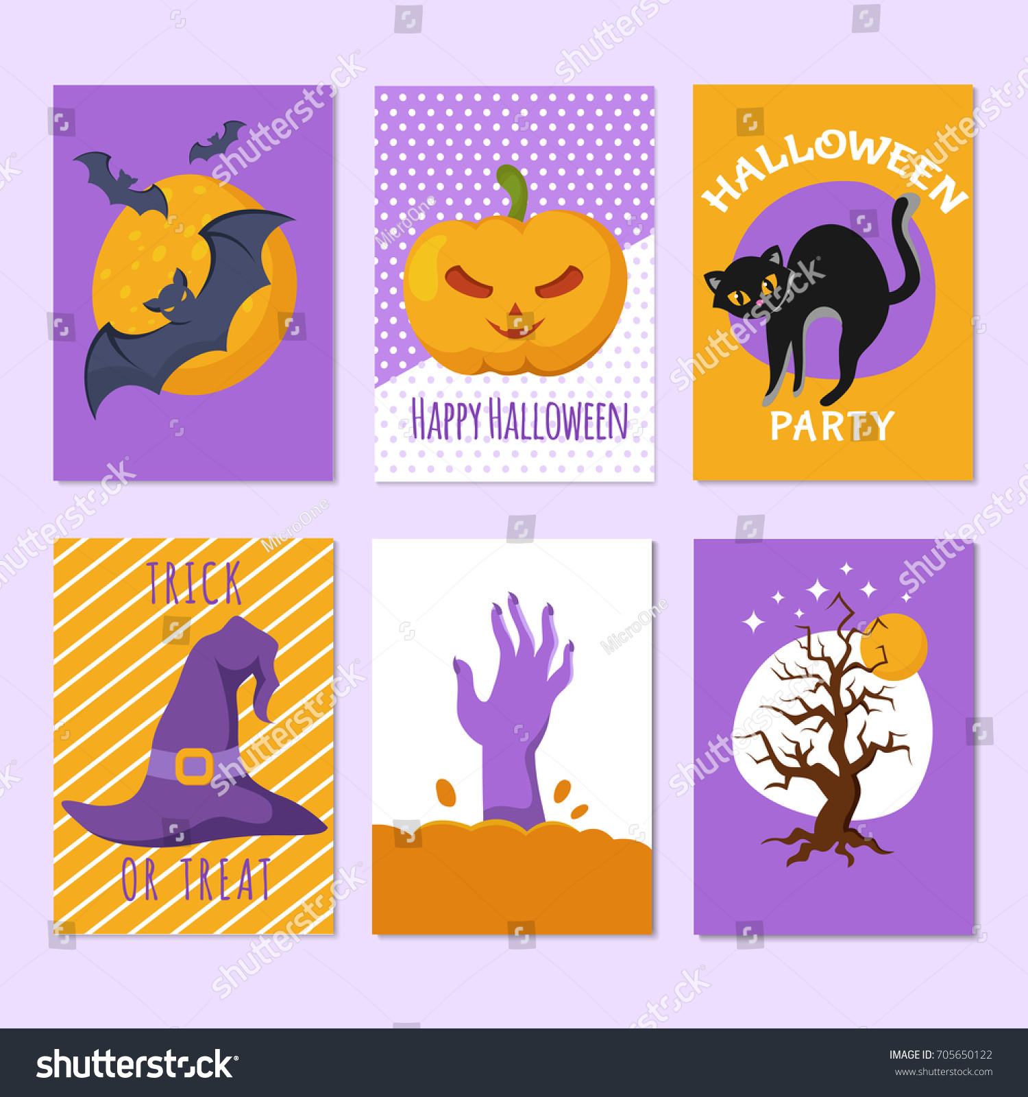 Halloween party posters invitation cards cartoon stock vector halloween party posters and invitation cards with cartoon scary signs and characters horror backgrounds vector stopboris Image collections