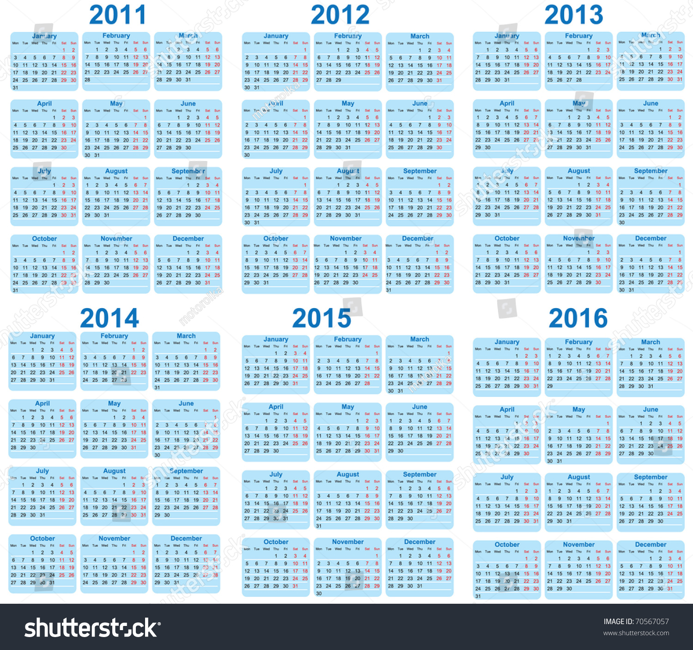 Set 2011 2016 Calendar Stock Vector 70567057 - Shutterstock