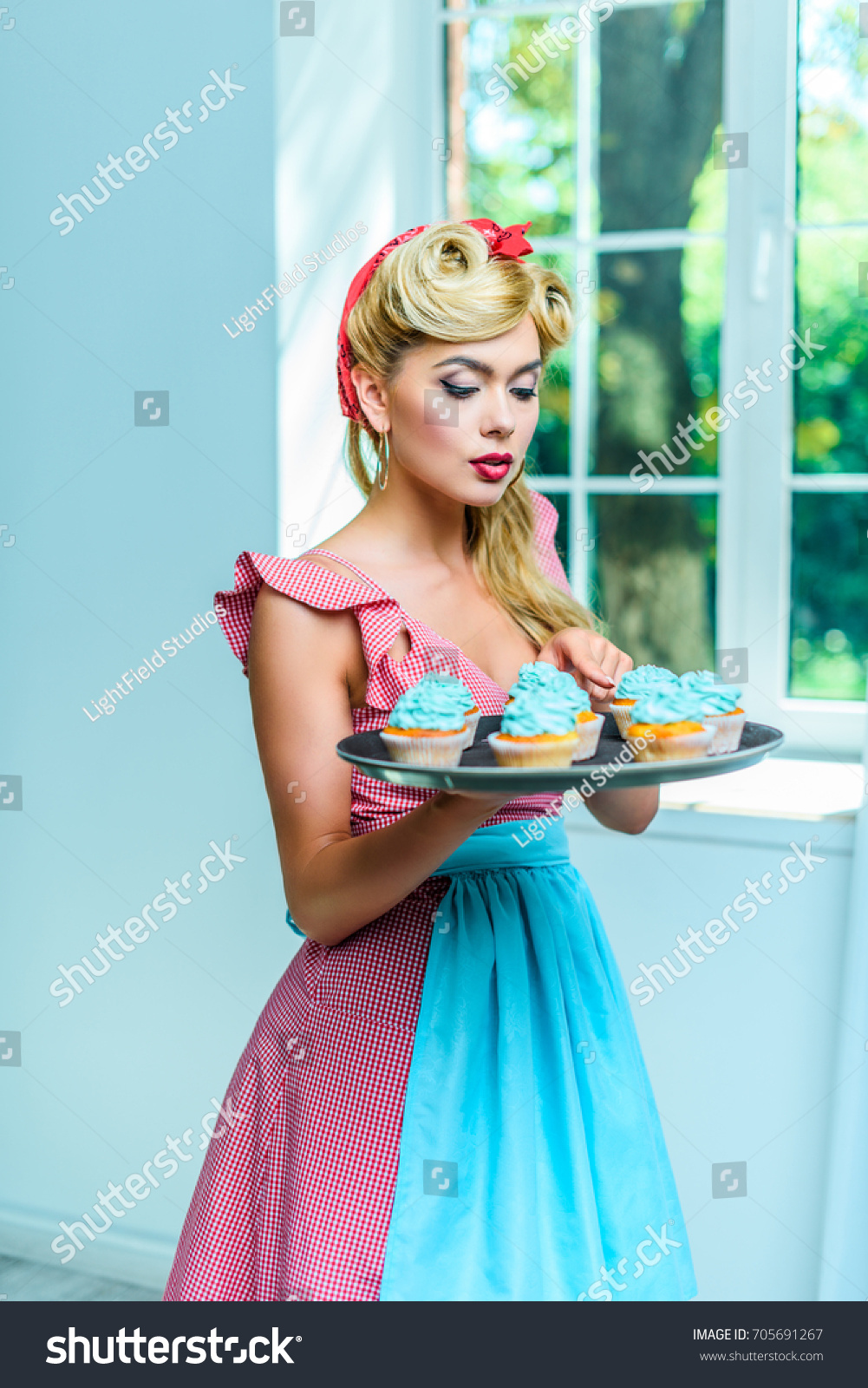 Beautiful Housewife Pin Style Cupcakes Kitchen Stock Photo (Edit Now ...