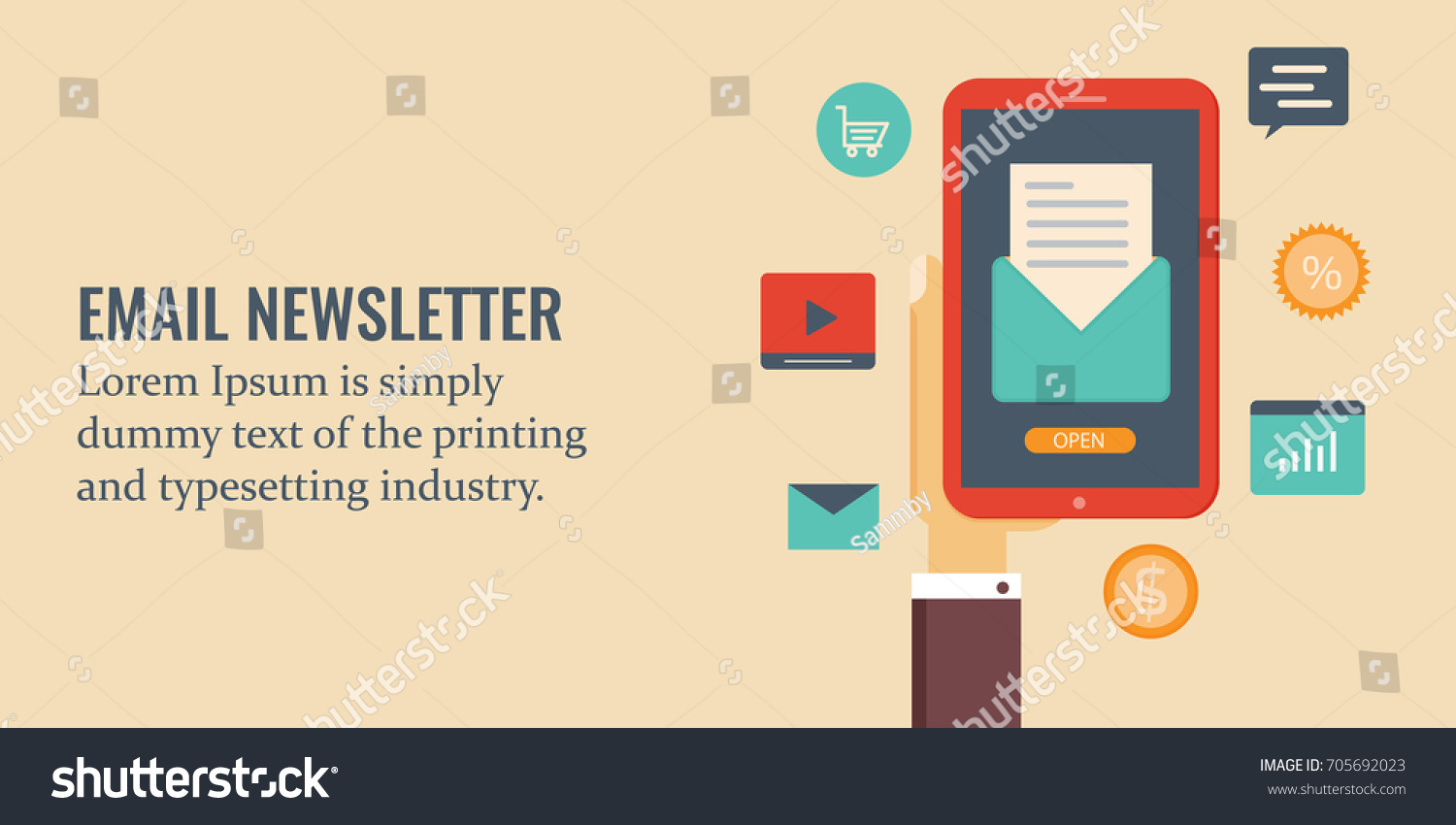 Email Newsletter On Mobile Screen Newsletter Stock Vector ...