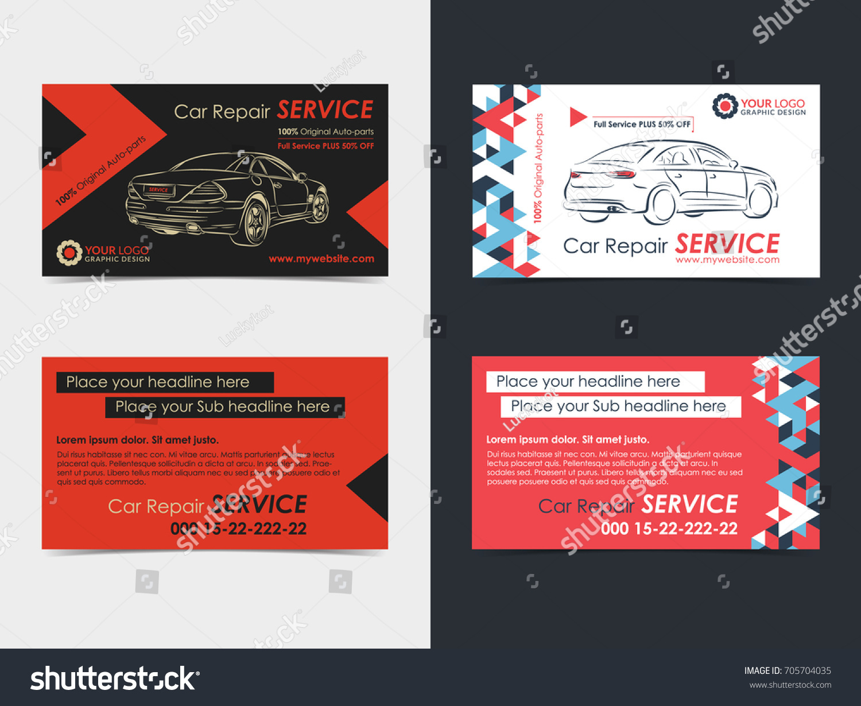 Set Automotive Service Business Cards Layout Stock Vector ...