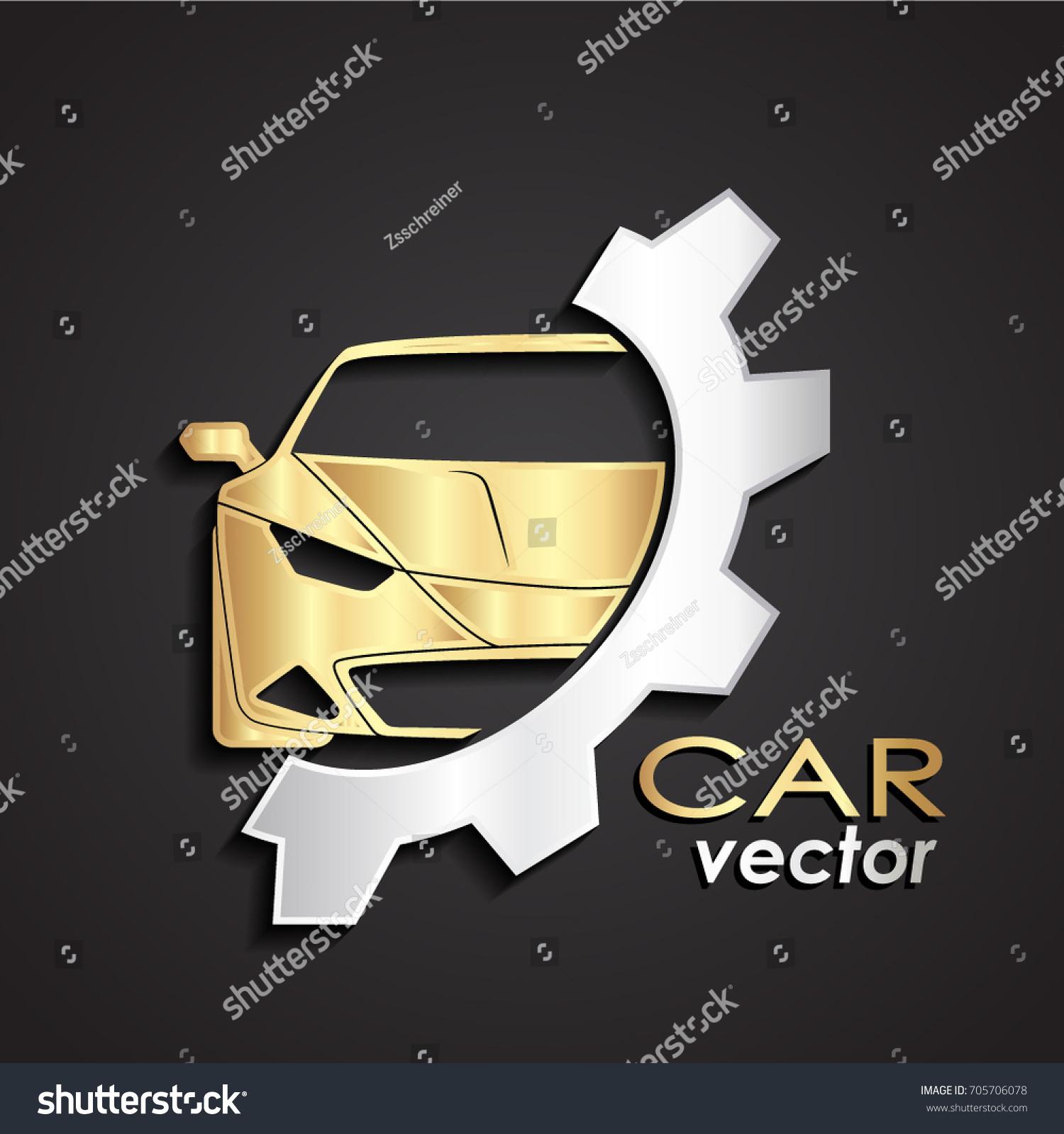 3d Golden Silver Car Logo Cogwheel Stock Vector (Royalty
