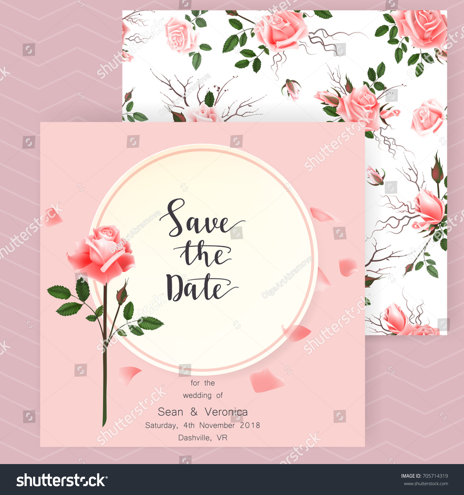 Save Date Card Wedding Invitation Greeting Stock Vector 705714319 ...