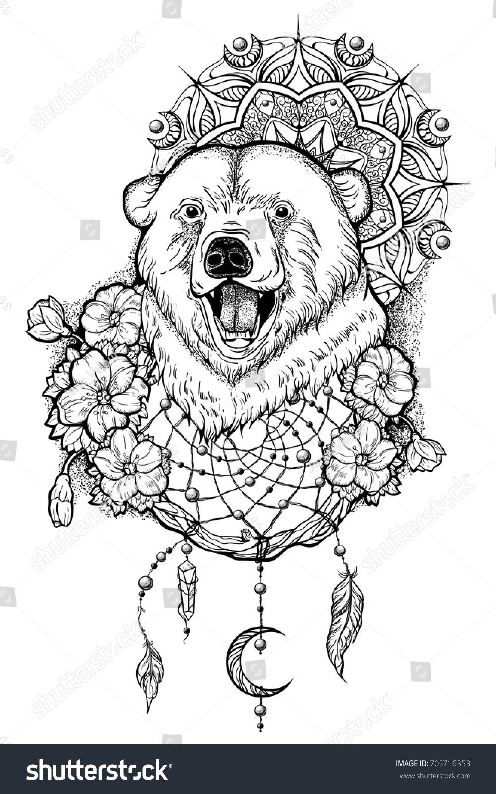 Polar Bear Totem Tattoo Vector Illustration Stock Vector Royalty