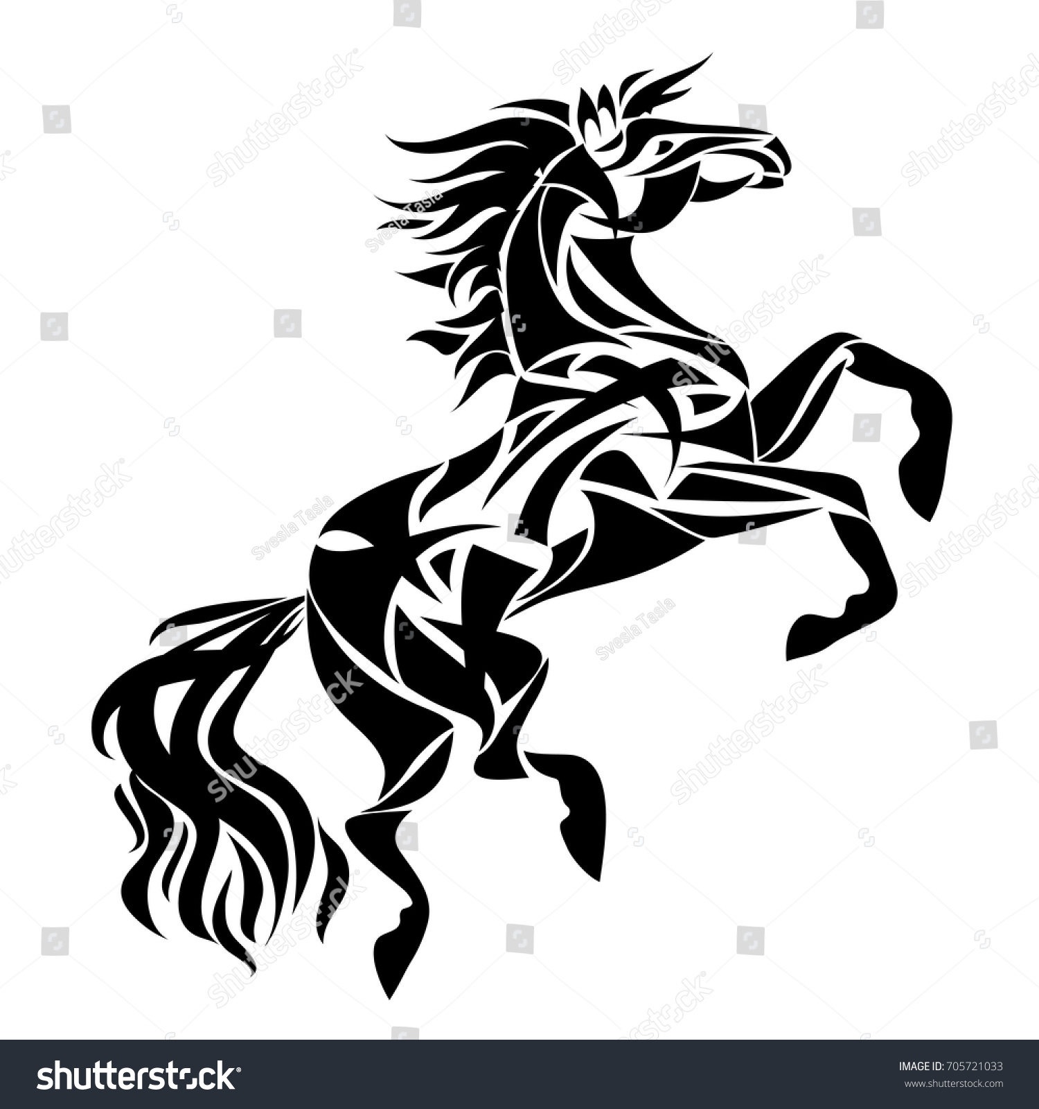 Vector Silhouette Horse Stylized Illustration Design Stock Vector Royalty Free 705721033