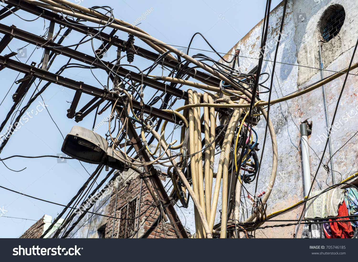 INDIA DELHI Tangle Electrical Wiring Old Stock Photo (Edit Now ...