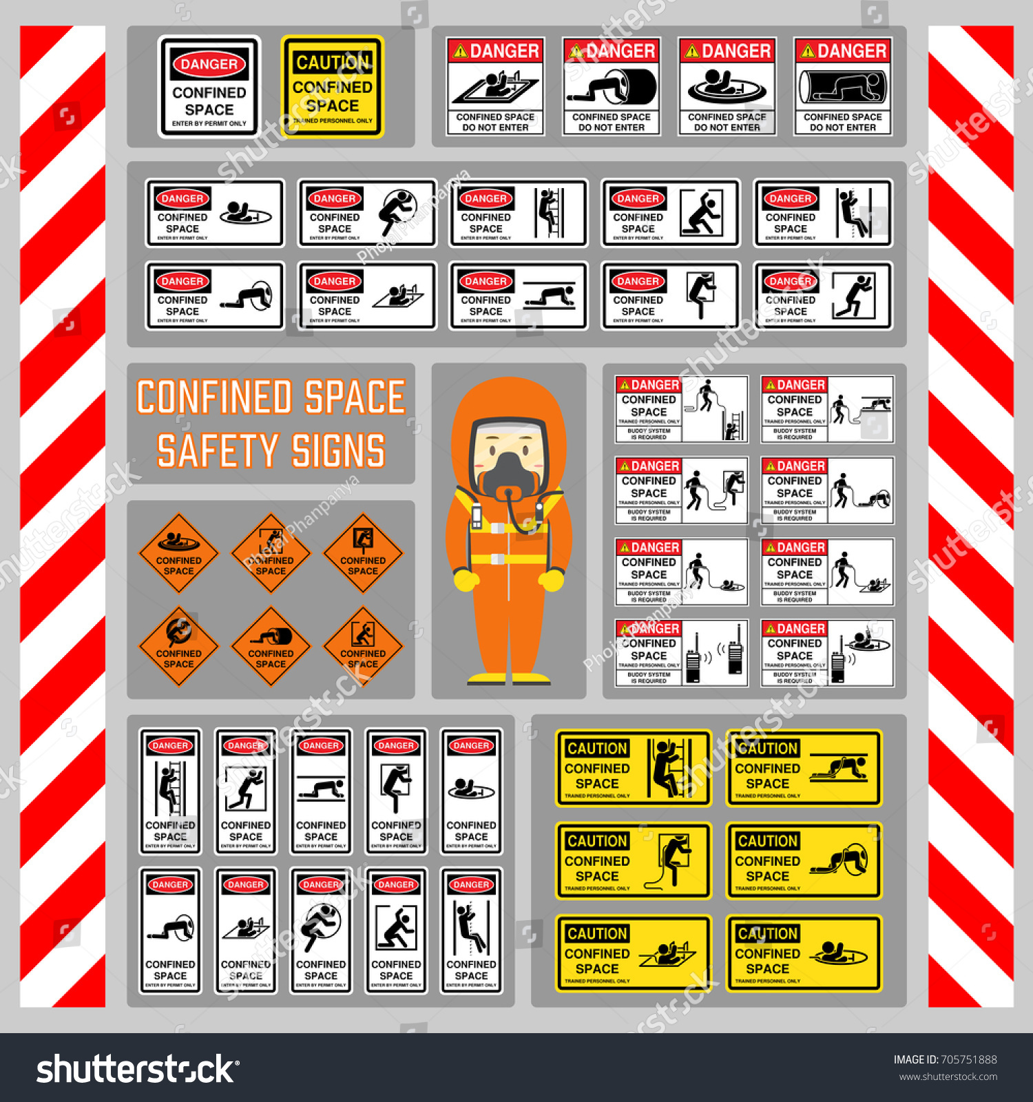 Set safety signs symbols confined space stock vector 705751888 set of safety signs and symbols of confined space signs and symbols for use as biocorpaavc