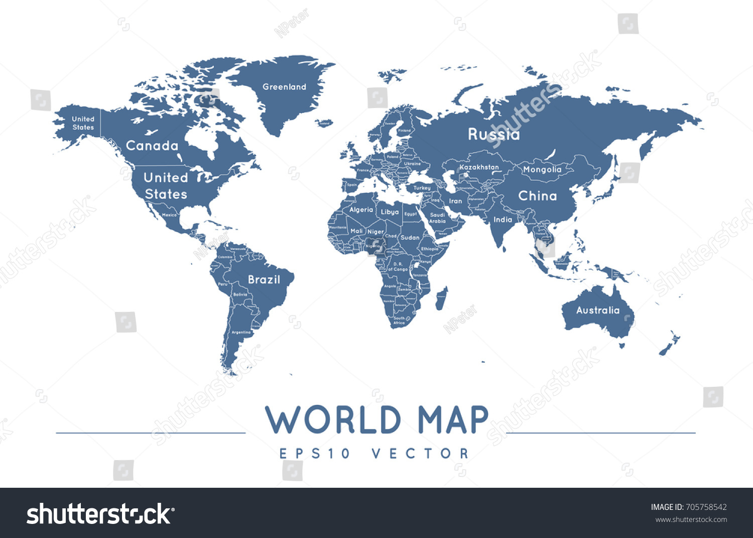 Political world map name borders countries stock vector 705758542 political world map with the name and borders of the countries gumiabroncs Choice Image