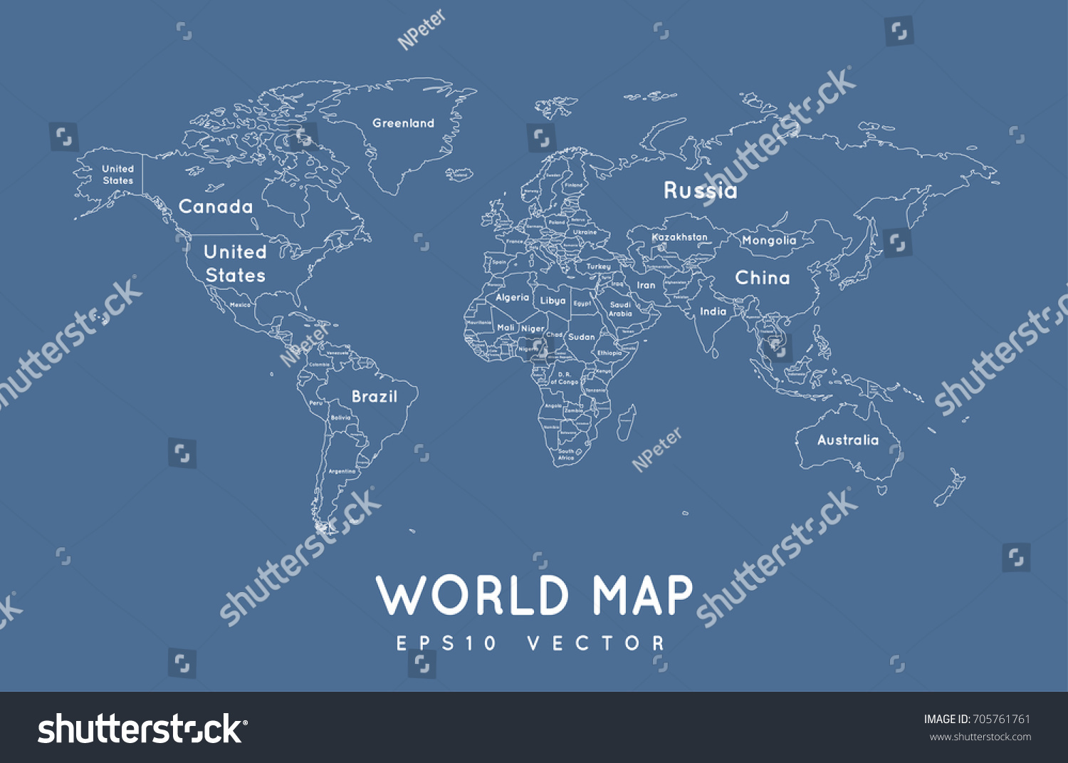 Political world map outline name borders stock vector 705761761 political world map in outline with the name and borders of the countries gumiabroncs Images