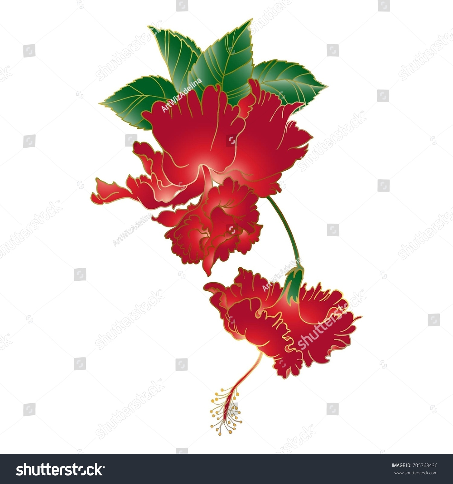 Vermilion red double flower hibiscus hand drawn stock vector vermilion red double flower hibiscushand drawn vector imitation of traditional japanese watercolor art izmirmasajfo