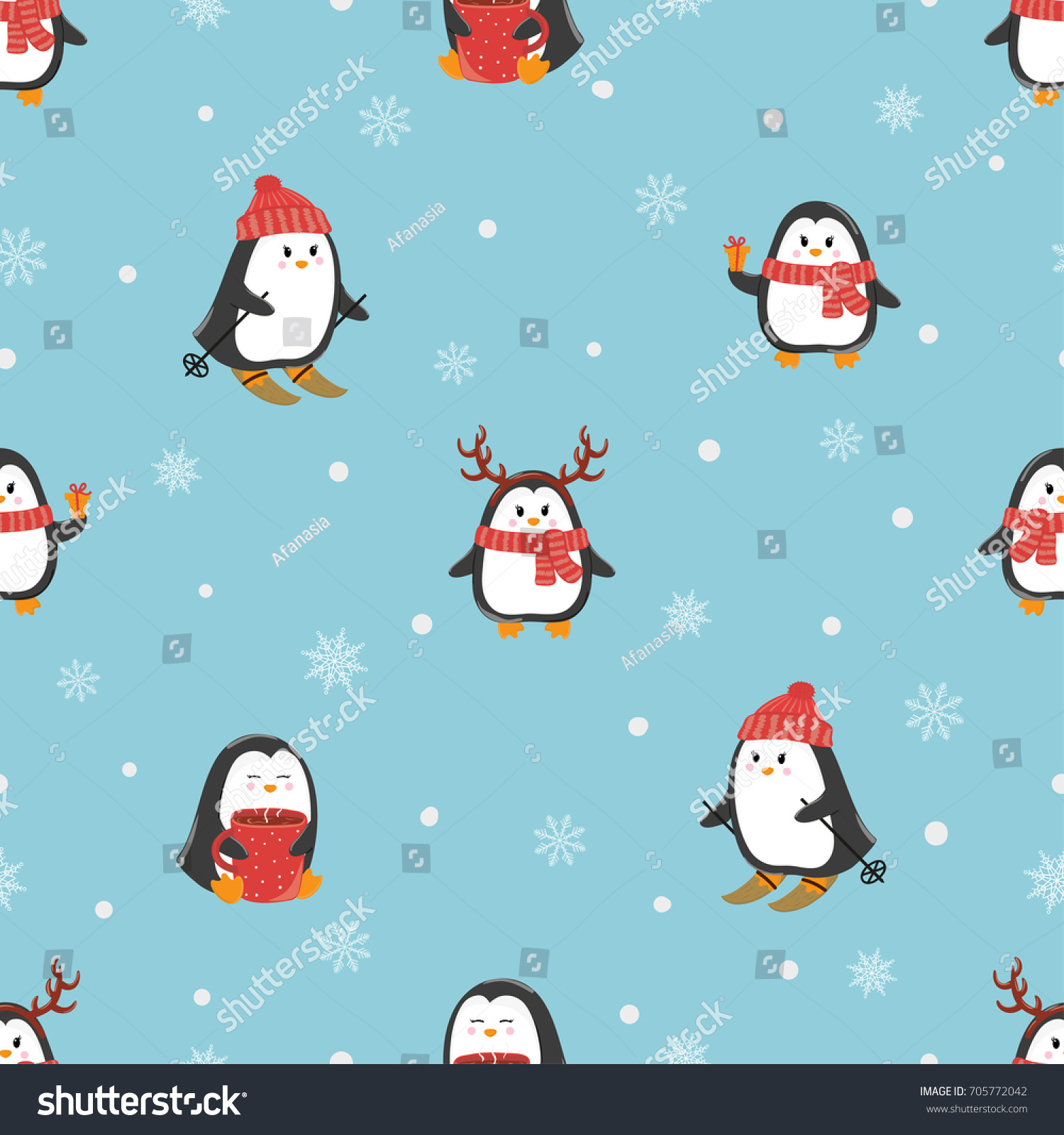 Cute Cartoon Penguins Seamless Pattern Merry Christmas And Happy