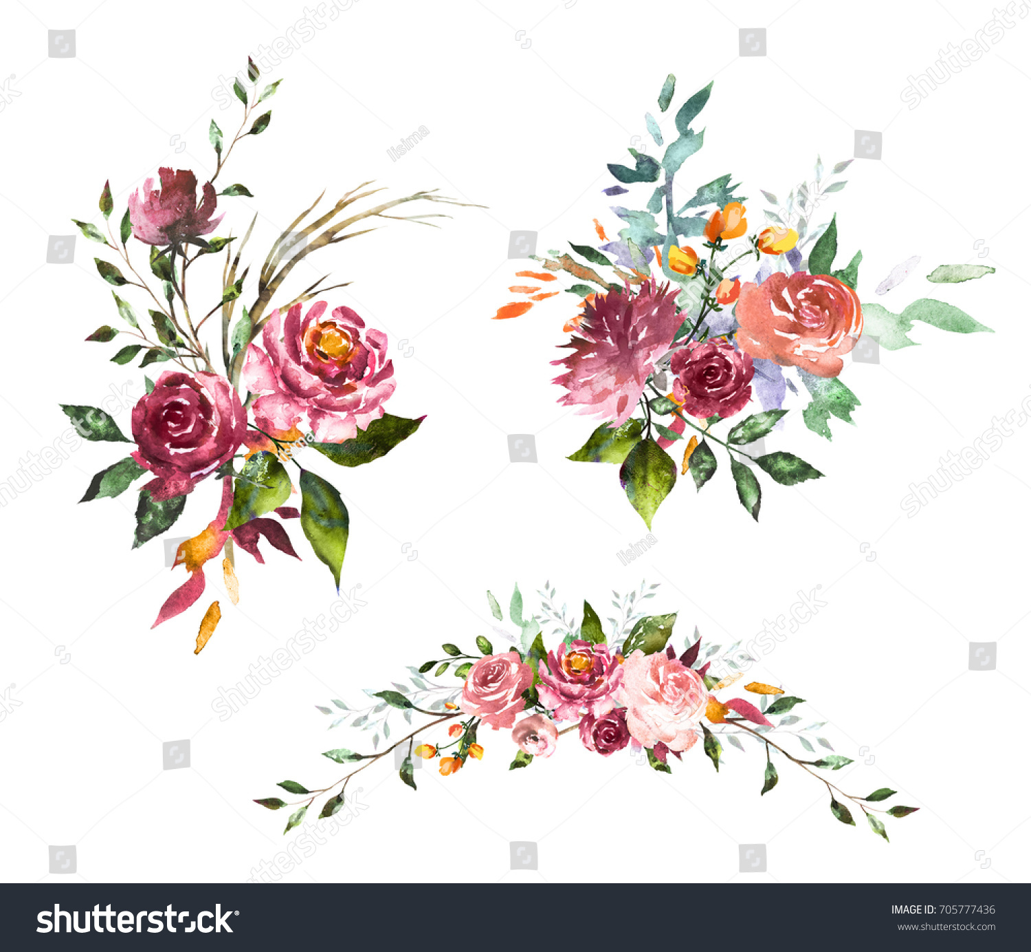 Set watercolor flowers hand painted floral stock illustration set watercolor flowers hand painted floral illustration bouquet of flowers pink rose design izmirmasajfo Choice Image