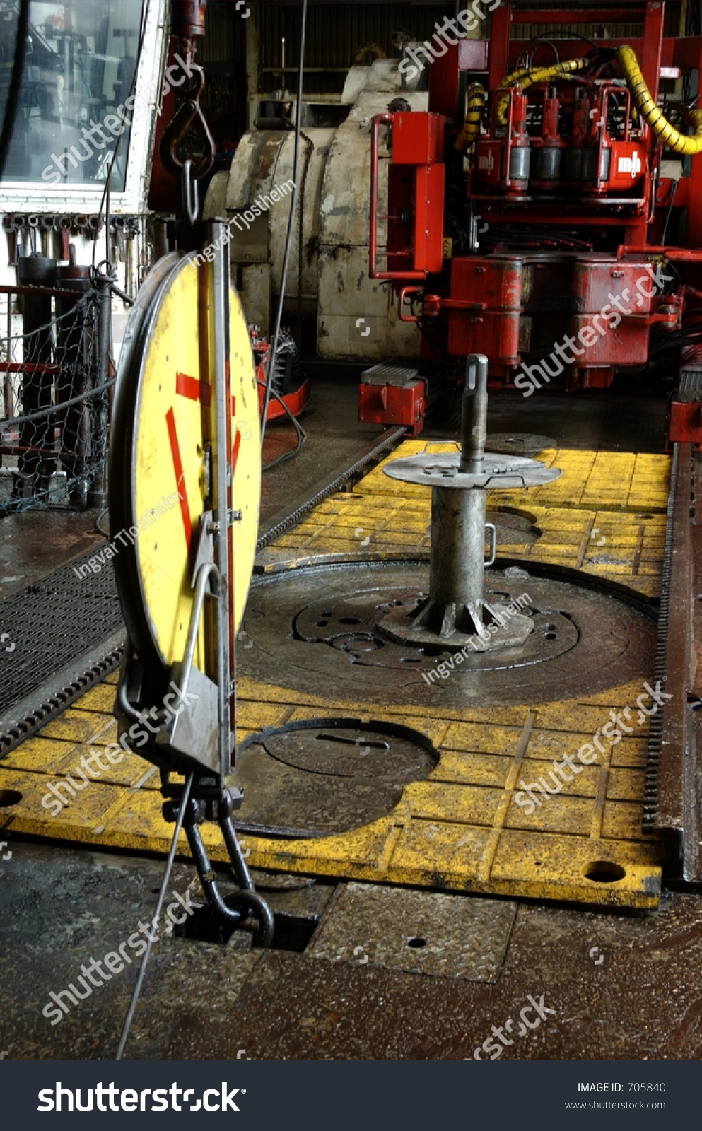 Wireline Pulley On Drillfloor Of An Offshore Oil Rig Stock