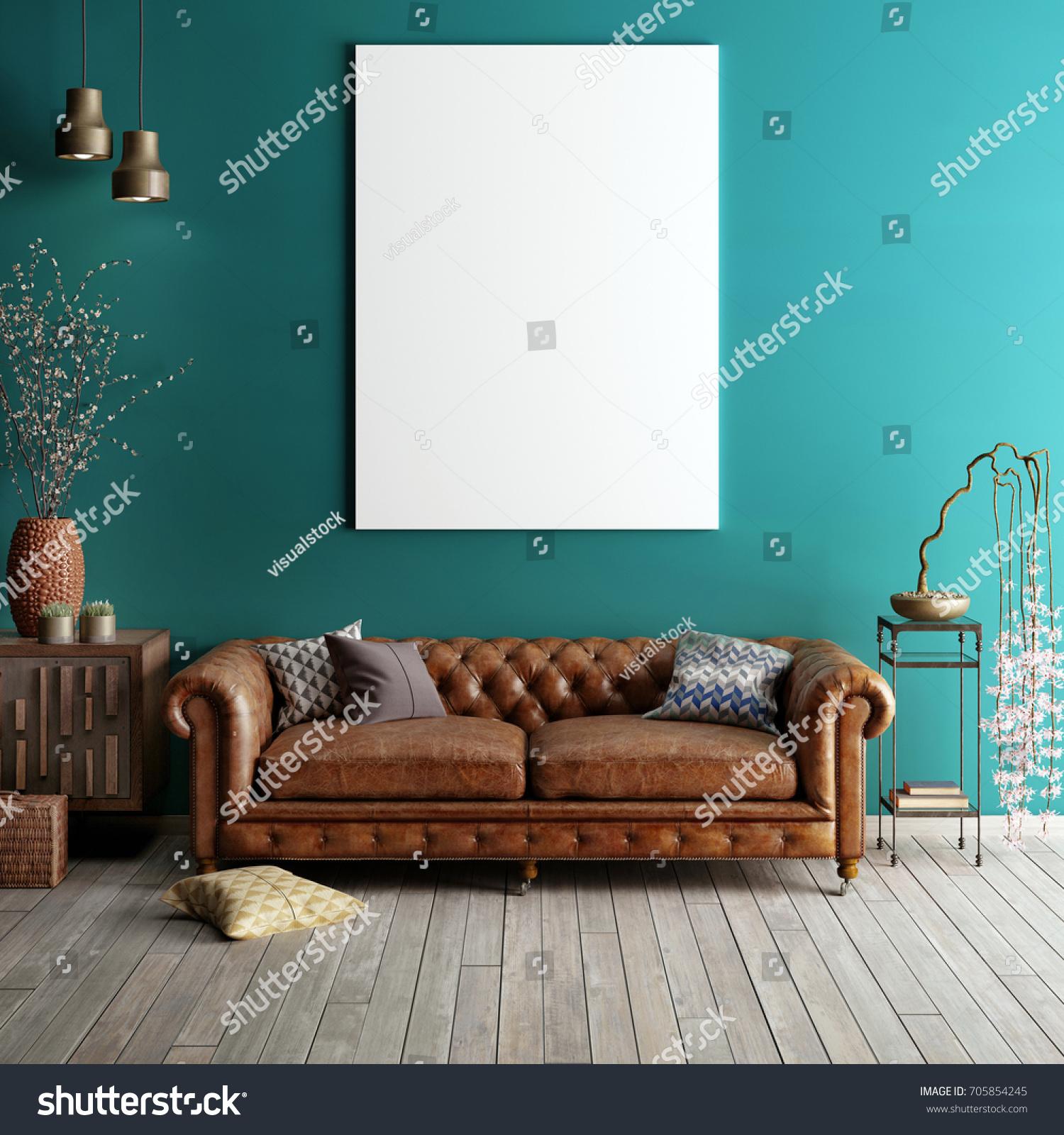 Mock Poster Classic Living Room Light Stockillustration 705854245
