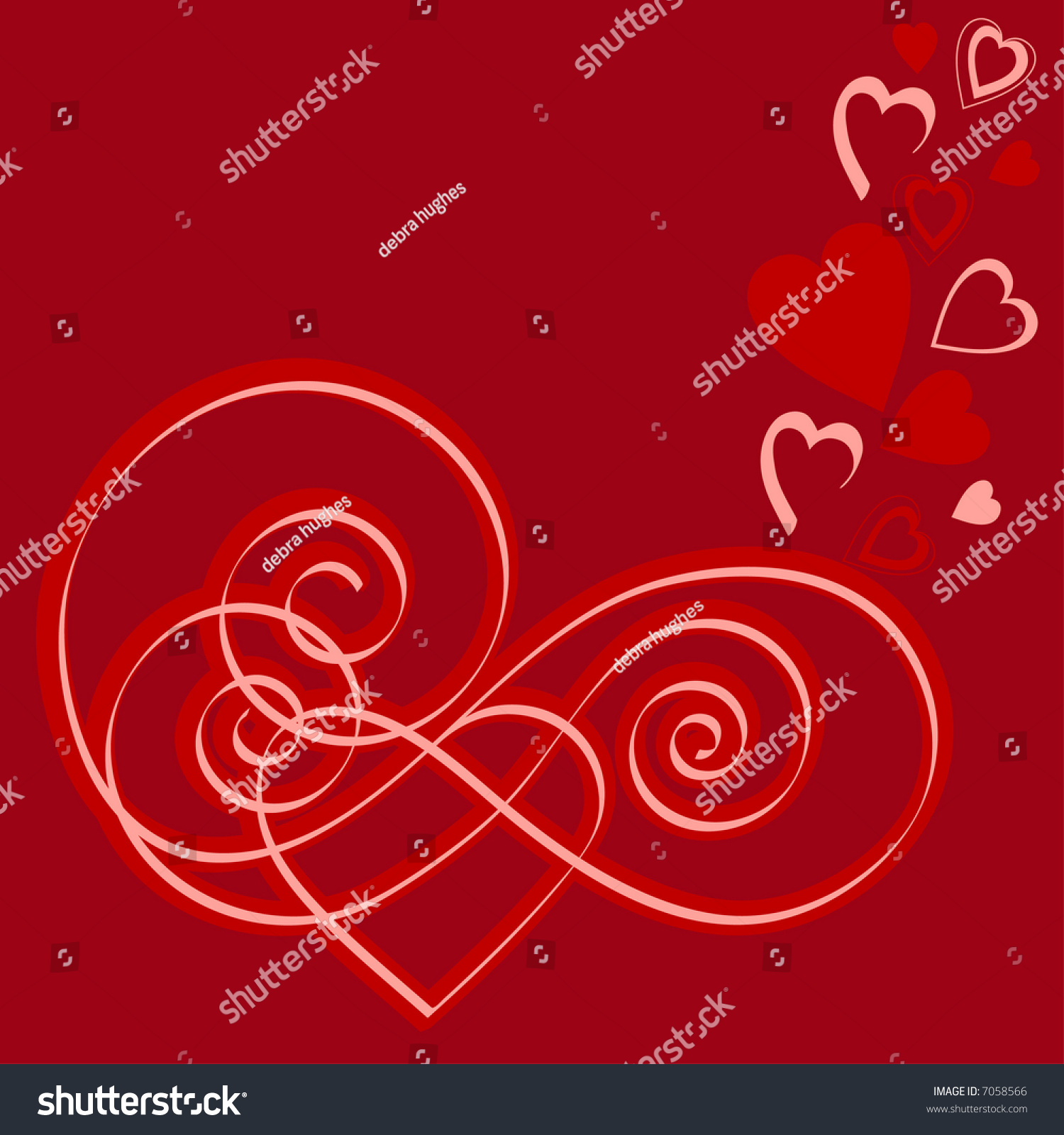 Valentine calligraphy hearts stock vector