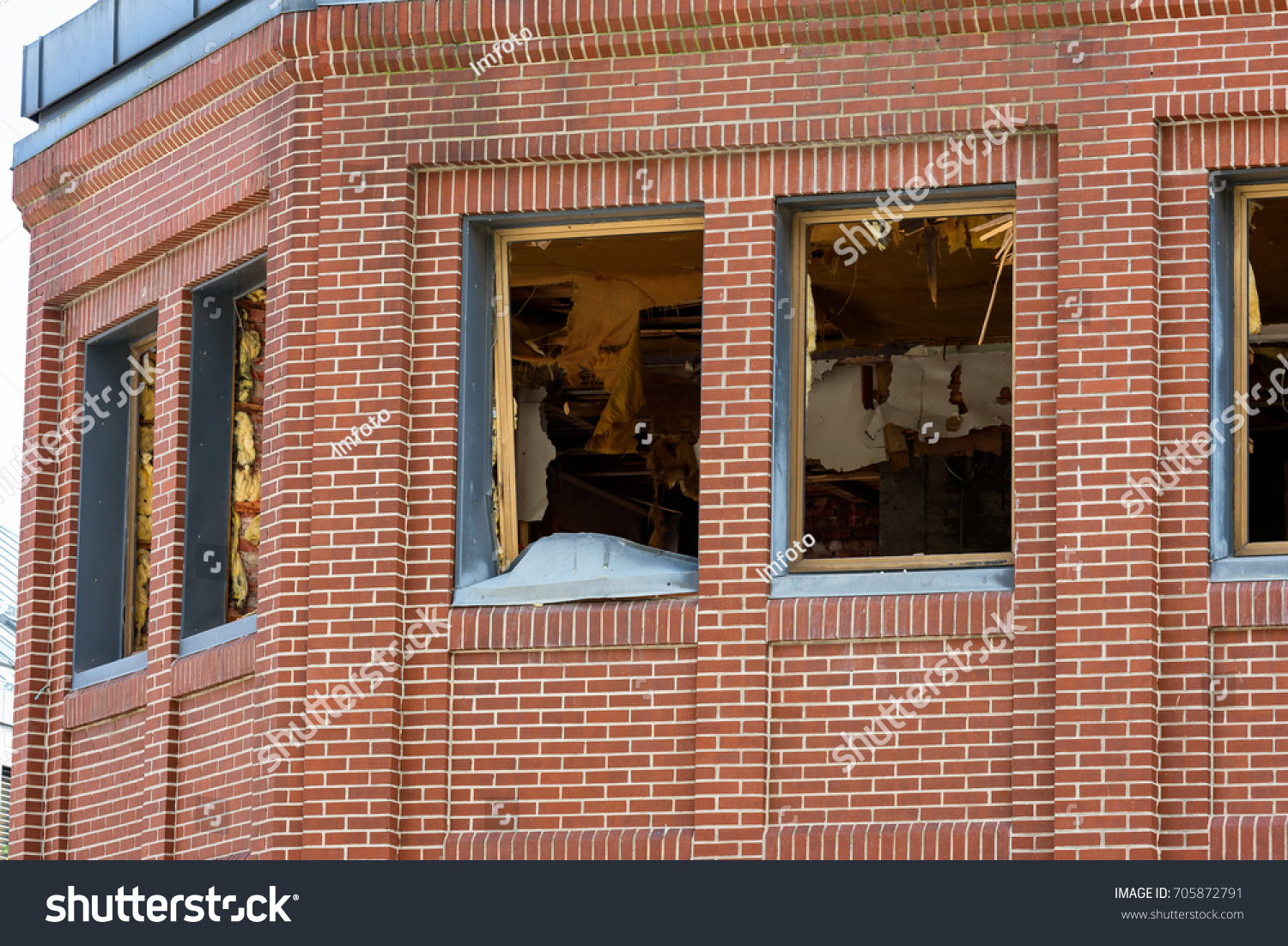 Trashed Apartments Red Brick Building No Stock Photo 705872791 ...