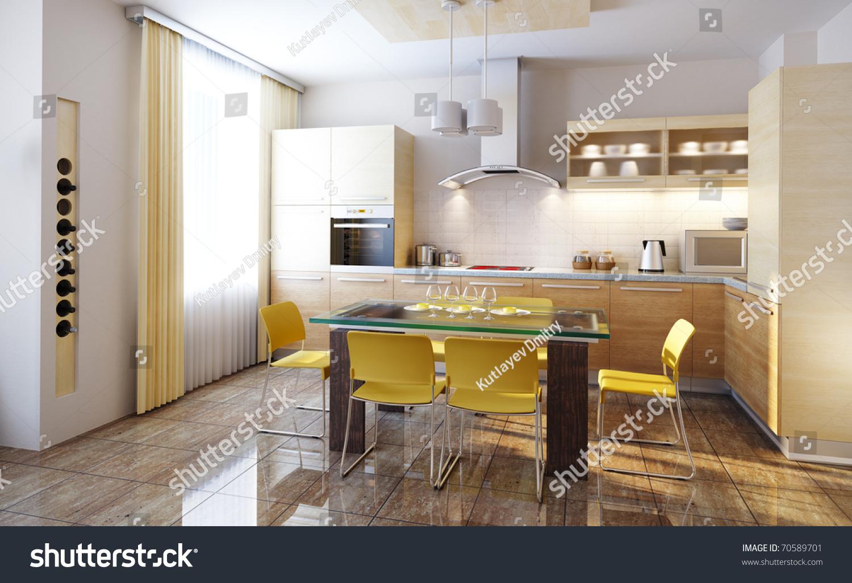 Modern Design Of A Kitchen Interior 3d Render