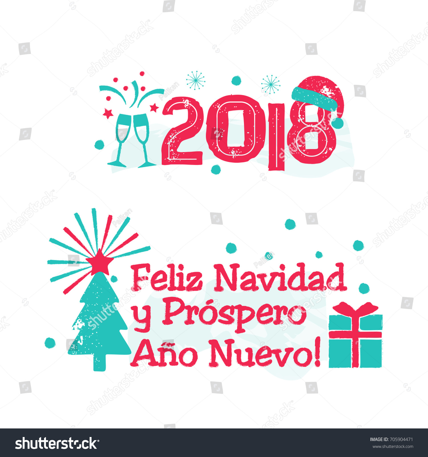feliz navidad merry christmas spanish language happy new year card with tree and fireworks