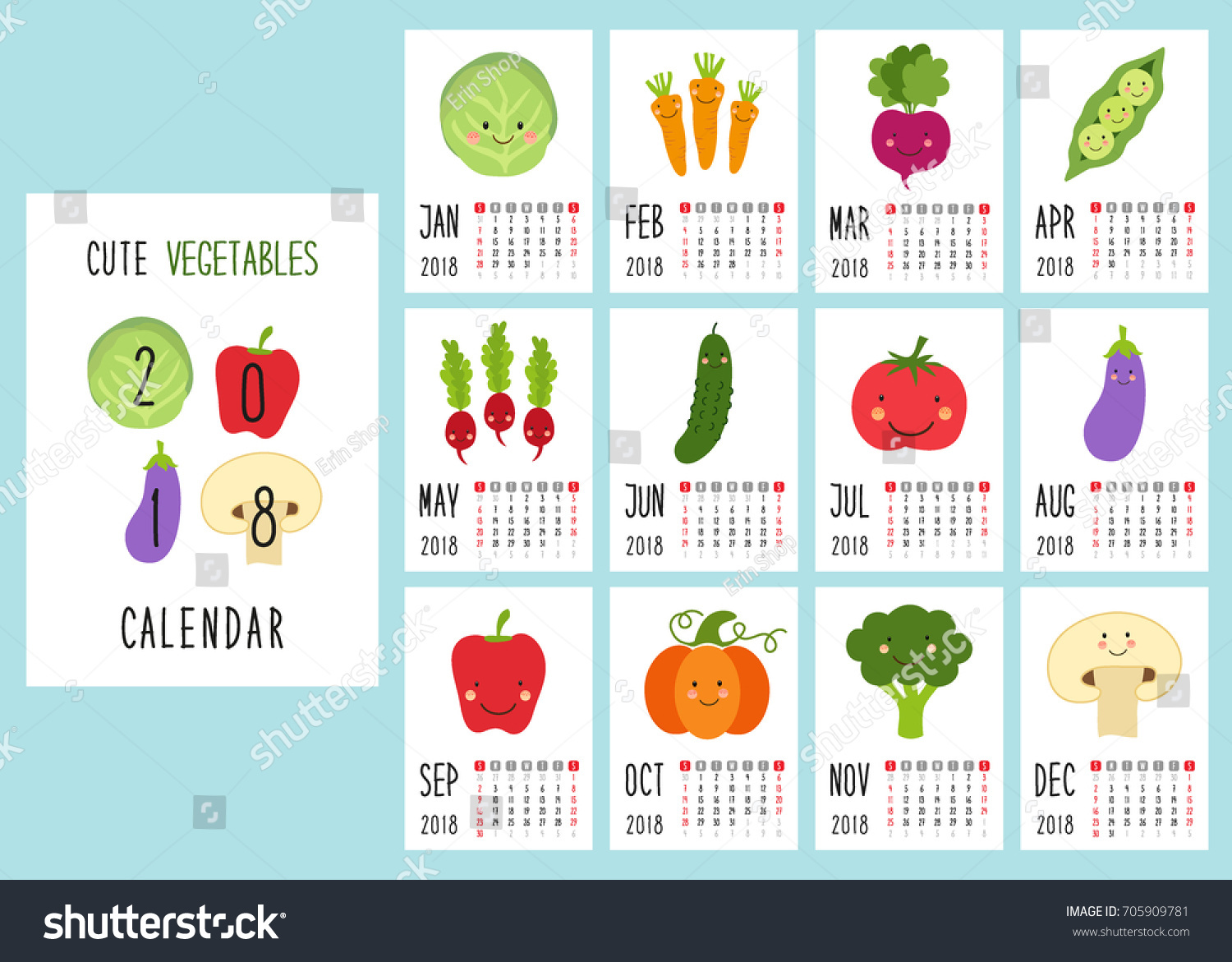 Cute 2018 Calendar Pages Smiling Characters Stock Vector ...
