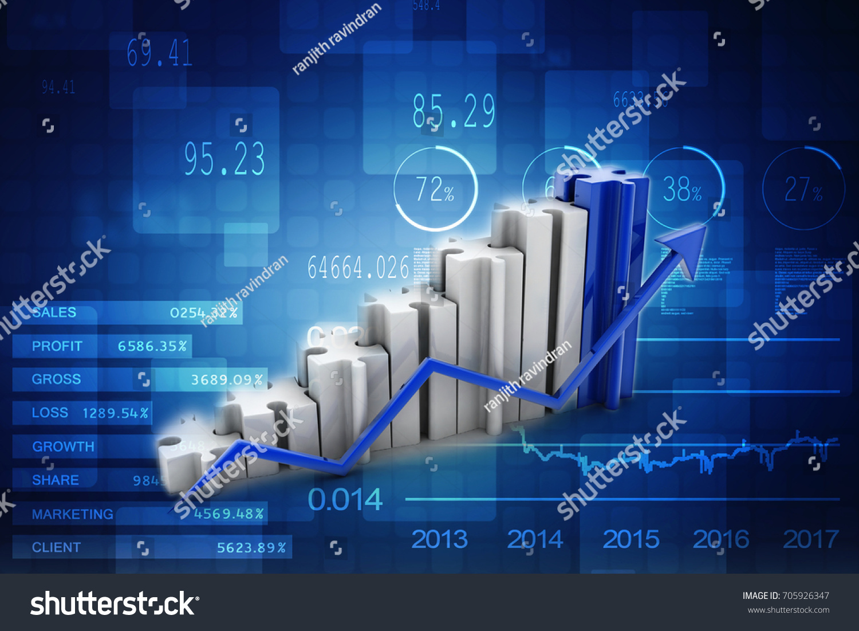 3 D Illustration Puzzle Success Financial Bar Stock Illustration ...