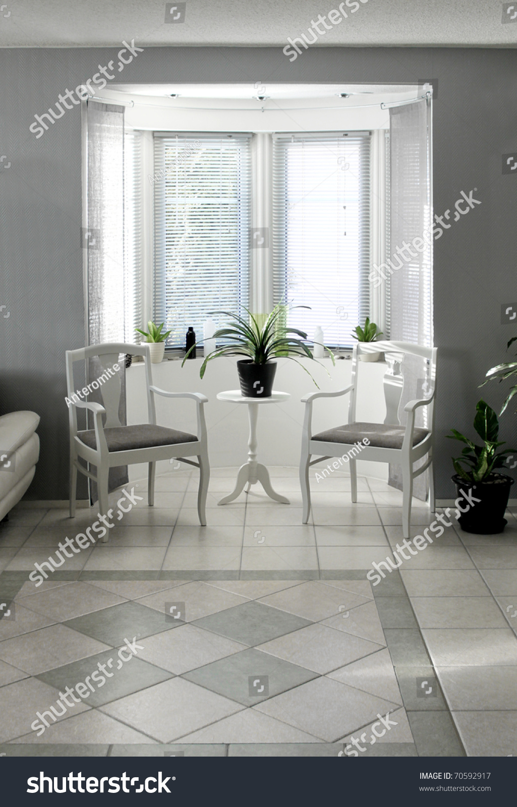 Bright Bay Window Interior Classic Chairs Stock Photo Edit Now 70592917