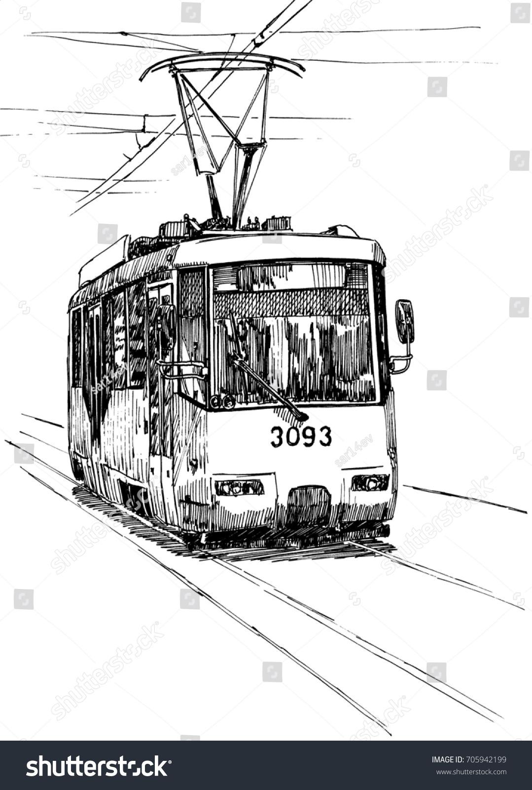 City Tram Black White Drawing Pen Stock Illustration 705942199 ...