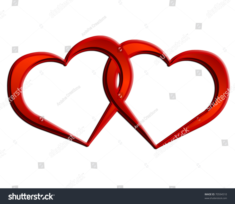 2 Hearts 1 Love Two Hearts Stock Illustration 70594510 ...