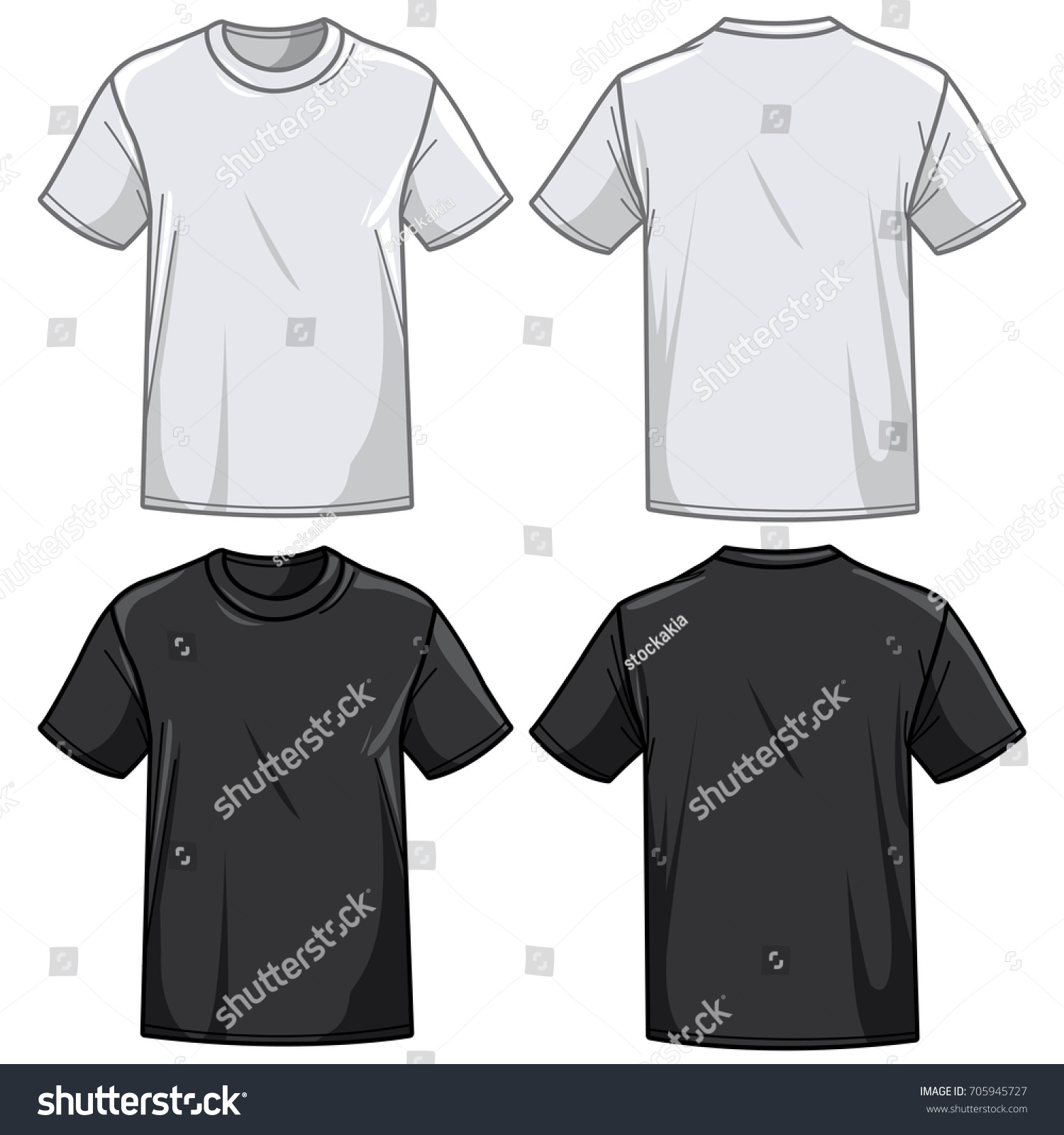 Black t shirt vector front and back - Front And Back View Of A Black And A White T Shirt Vector Illustration