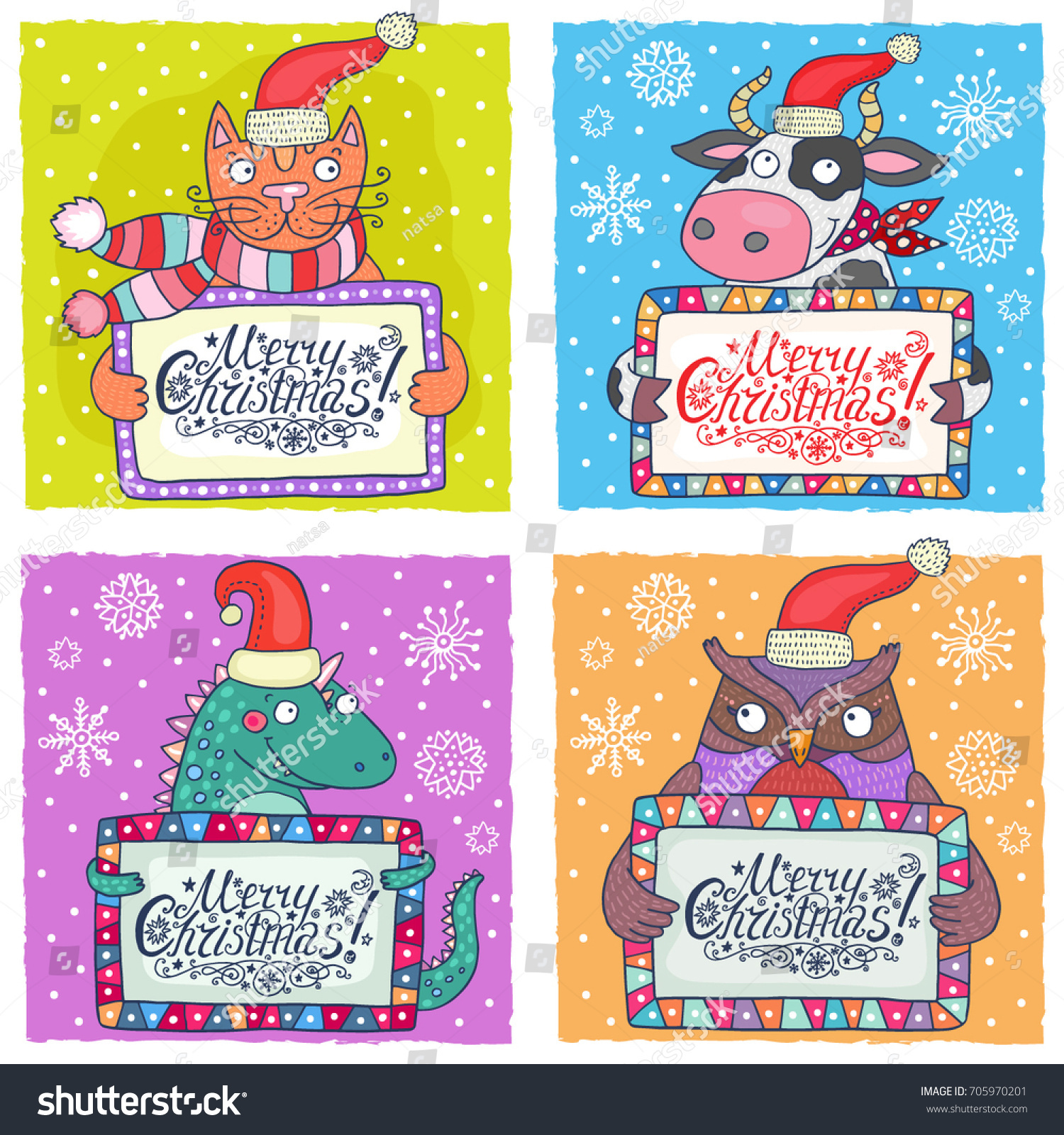 Set 4 Cute Christmas Cards Templates Stock Vector (Royalty Free ...