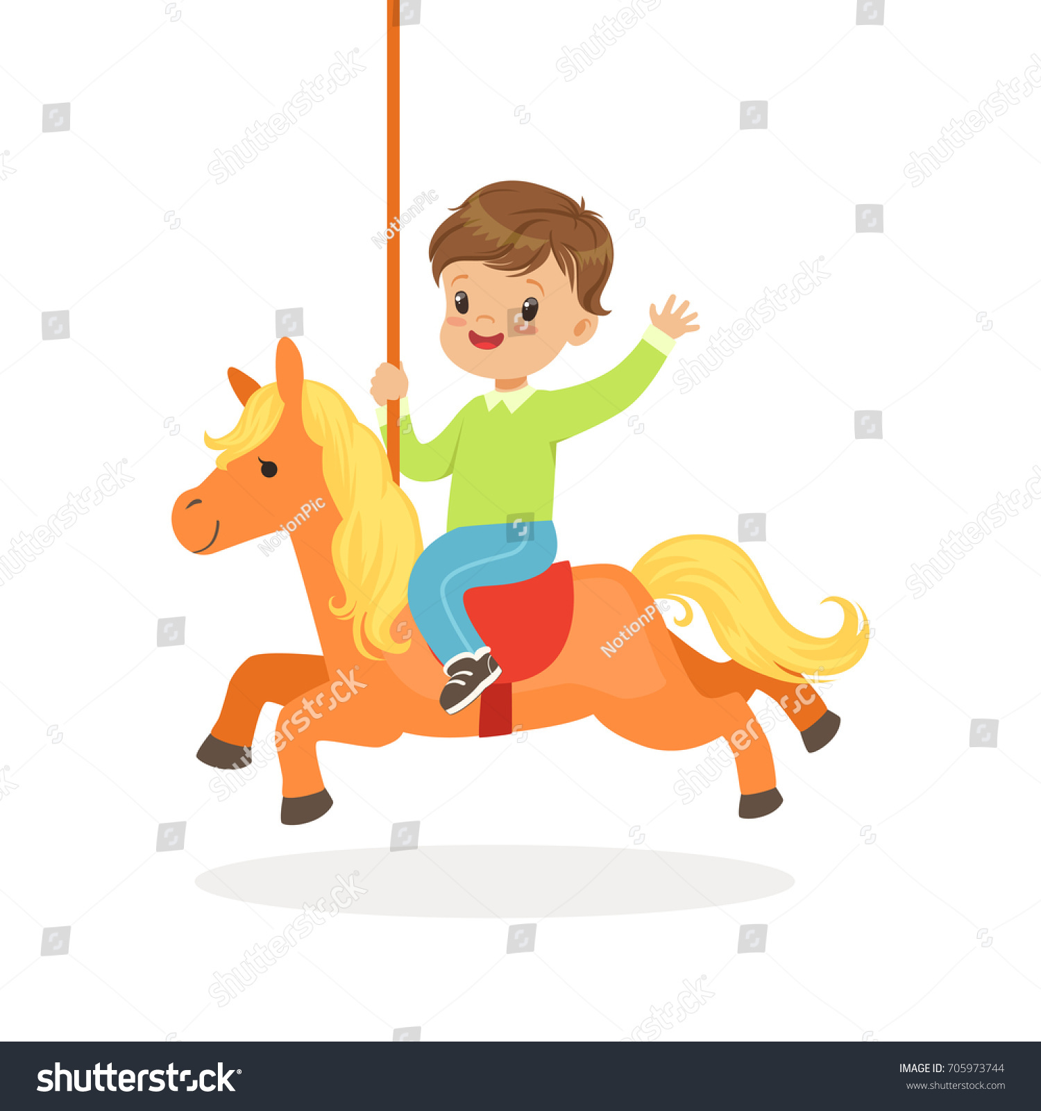 Cute Little Boy Riding On The Carousel Horse Kid Have A Fun In Amusement Park