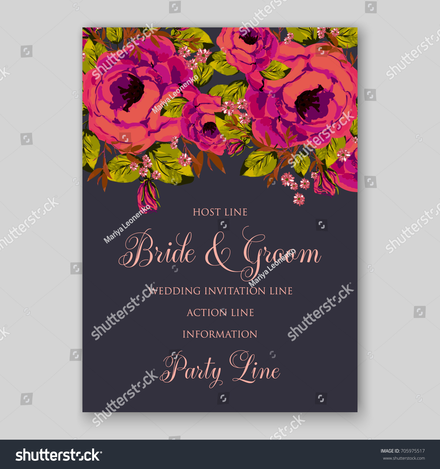 Ranunculus Pop Art Rose Peony Wedding Invitation